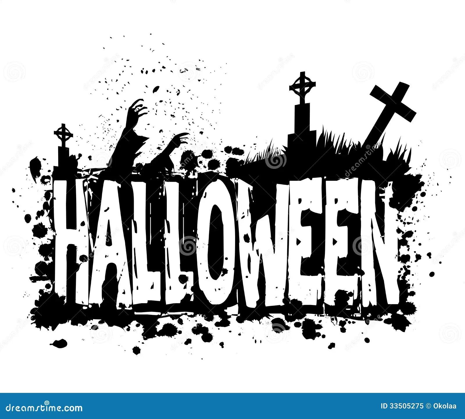 Halloween Grunge Silhouette Background Stock Illustration