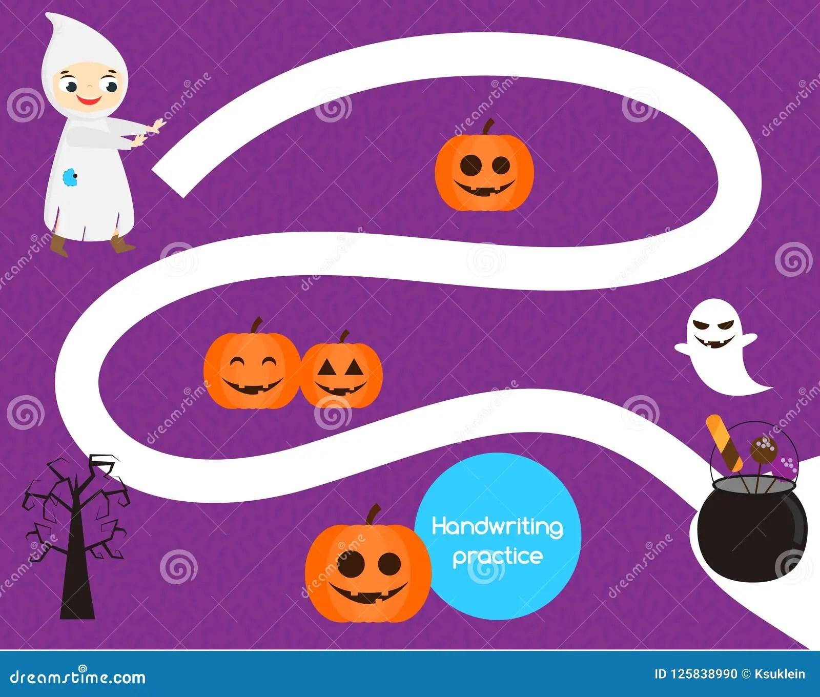Halloween Handwriting Practice Sheet Educational Children