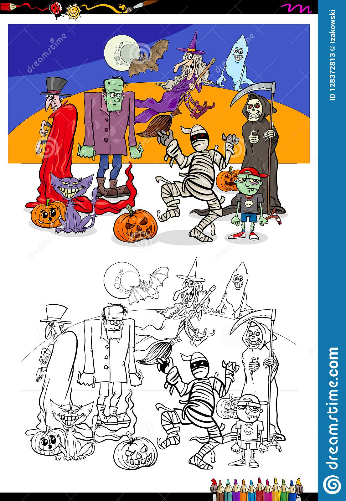 Halloween Illustration With Scary Characters Color Book