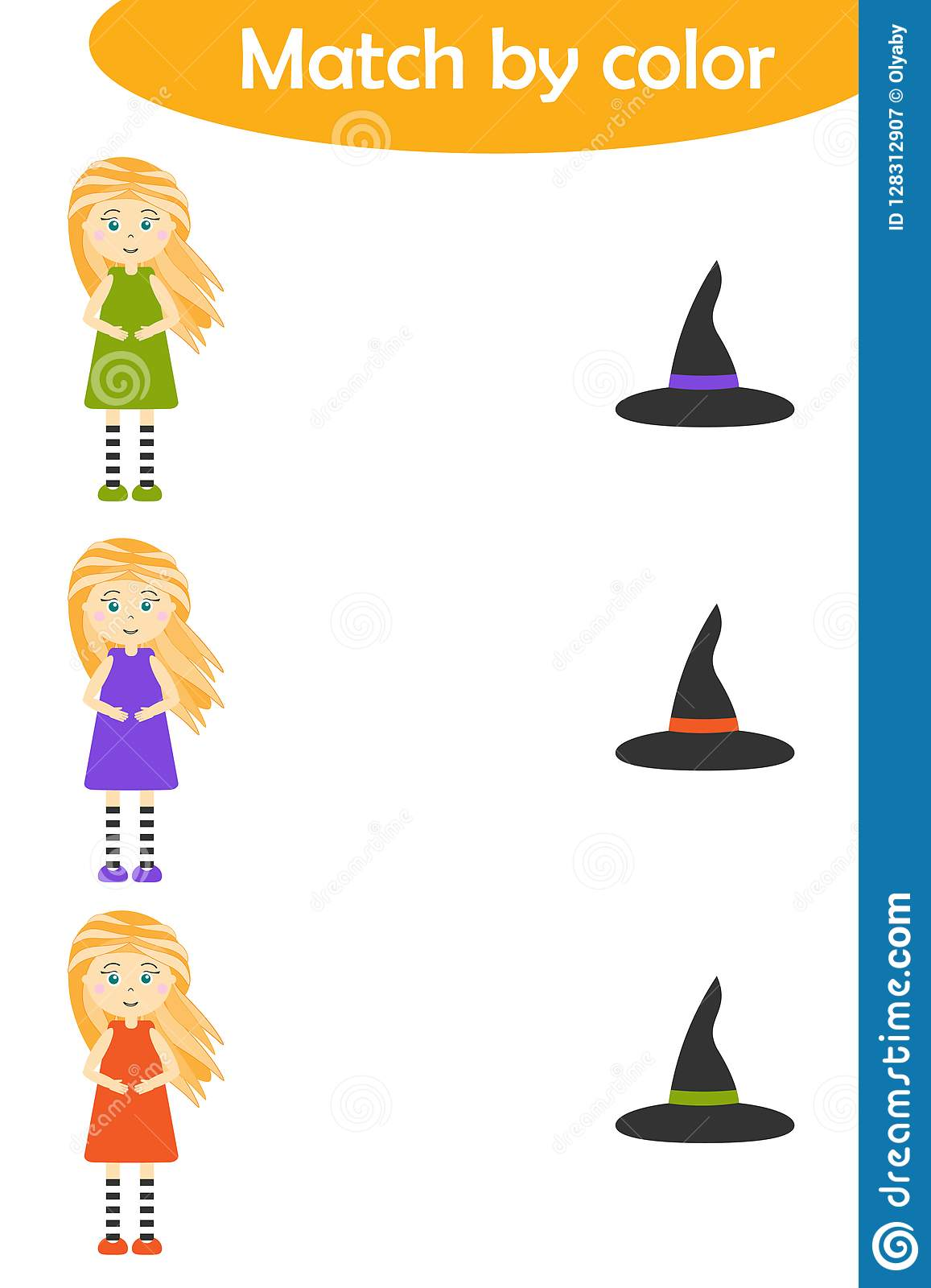Halloween Matching Game For Children Connect Witches In