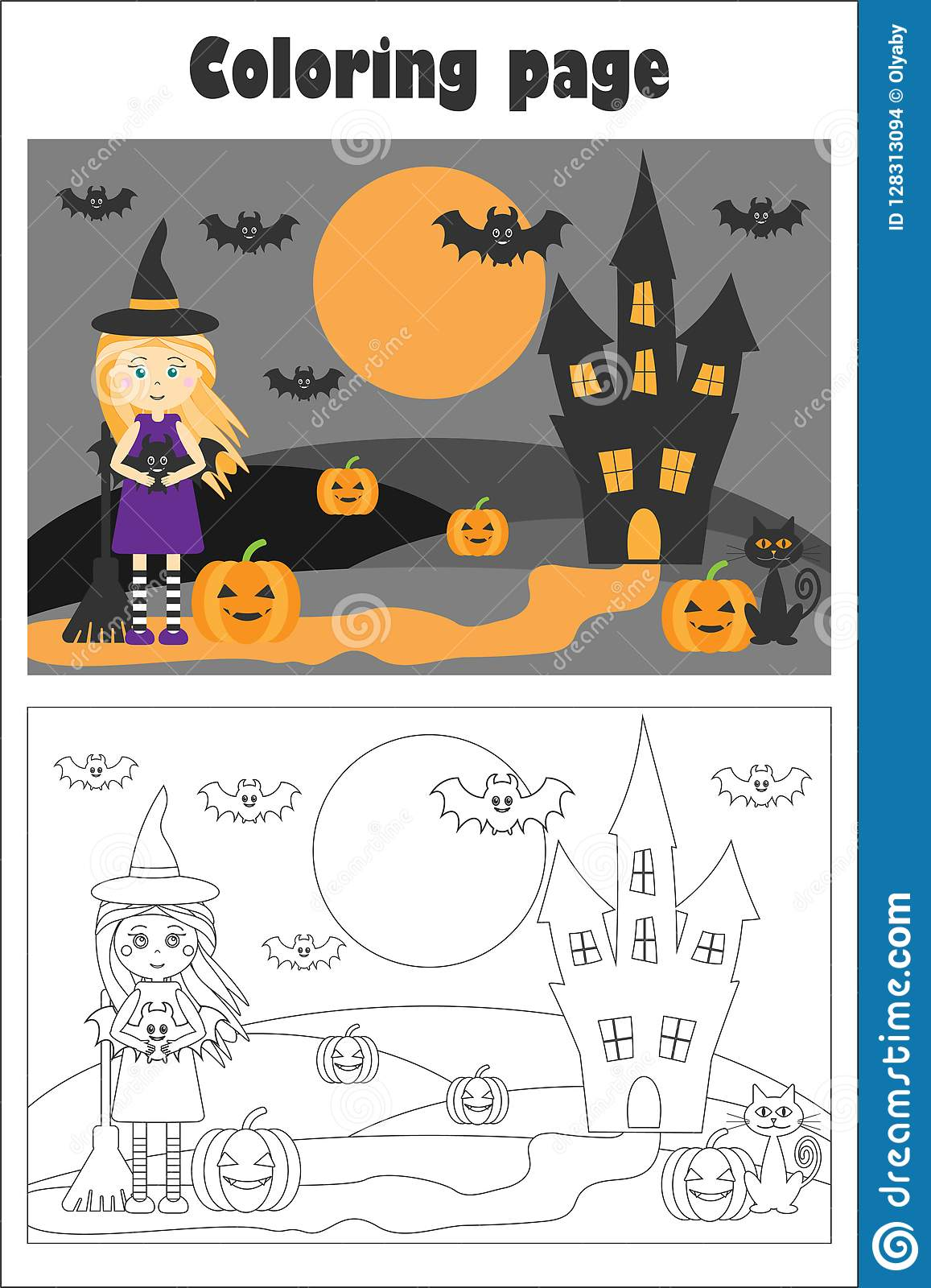 Halloween Picture With Witch In Cartoon Style Coloring