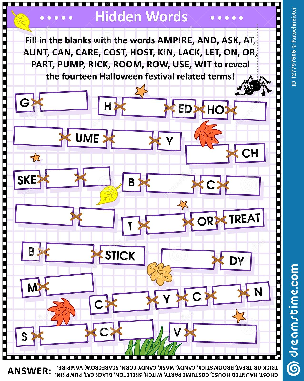 Word Puzzle Or Word Game With Halloween Festival Terms