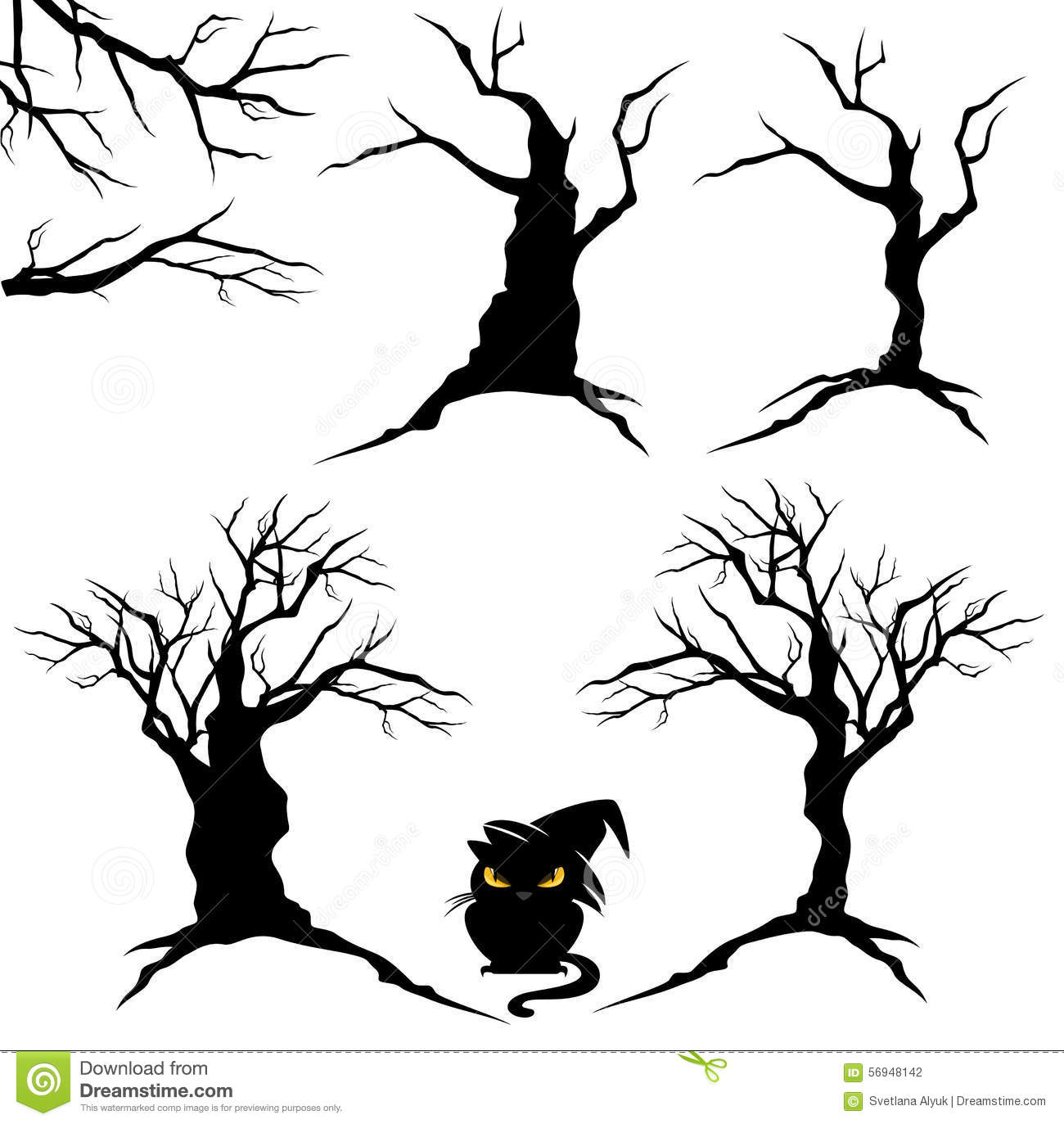 Halloween Trees Set Stock Vector Illustration Of Horror