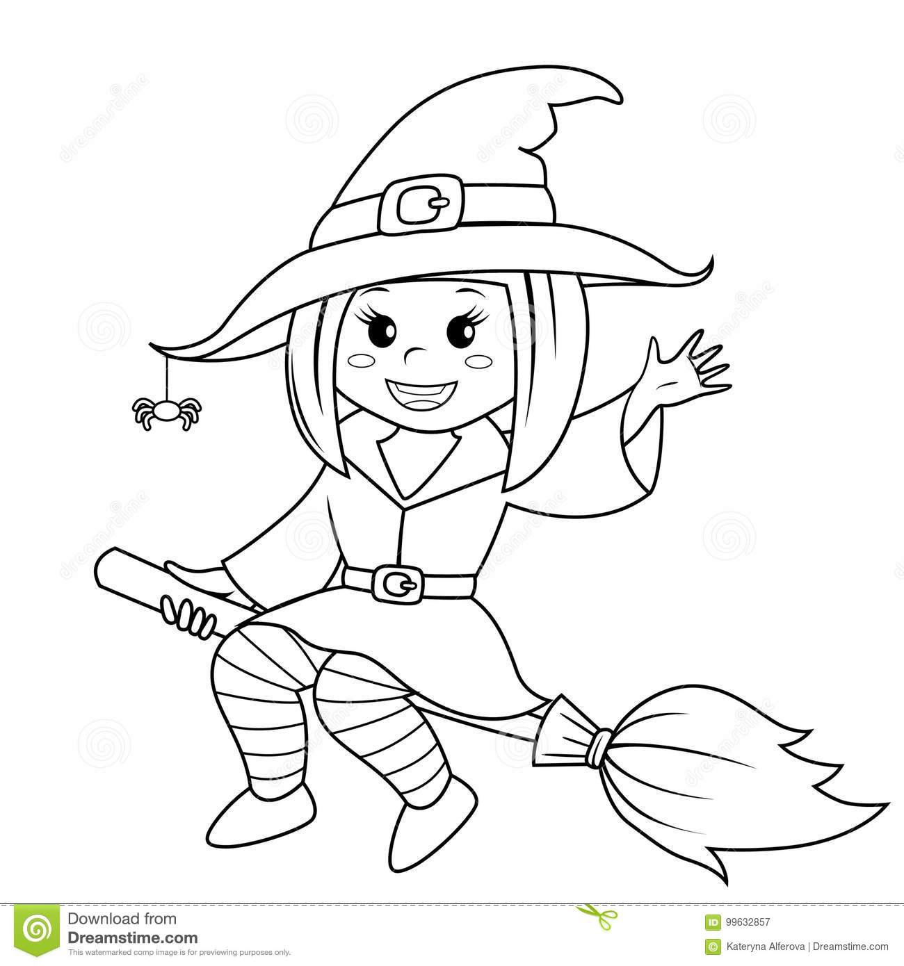 Halloween Witch Flying On Broom Black And White Vector