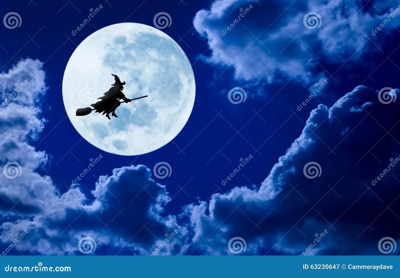 Halloween Witch Flying Moon Sky Stock Image Image Of
