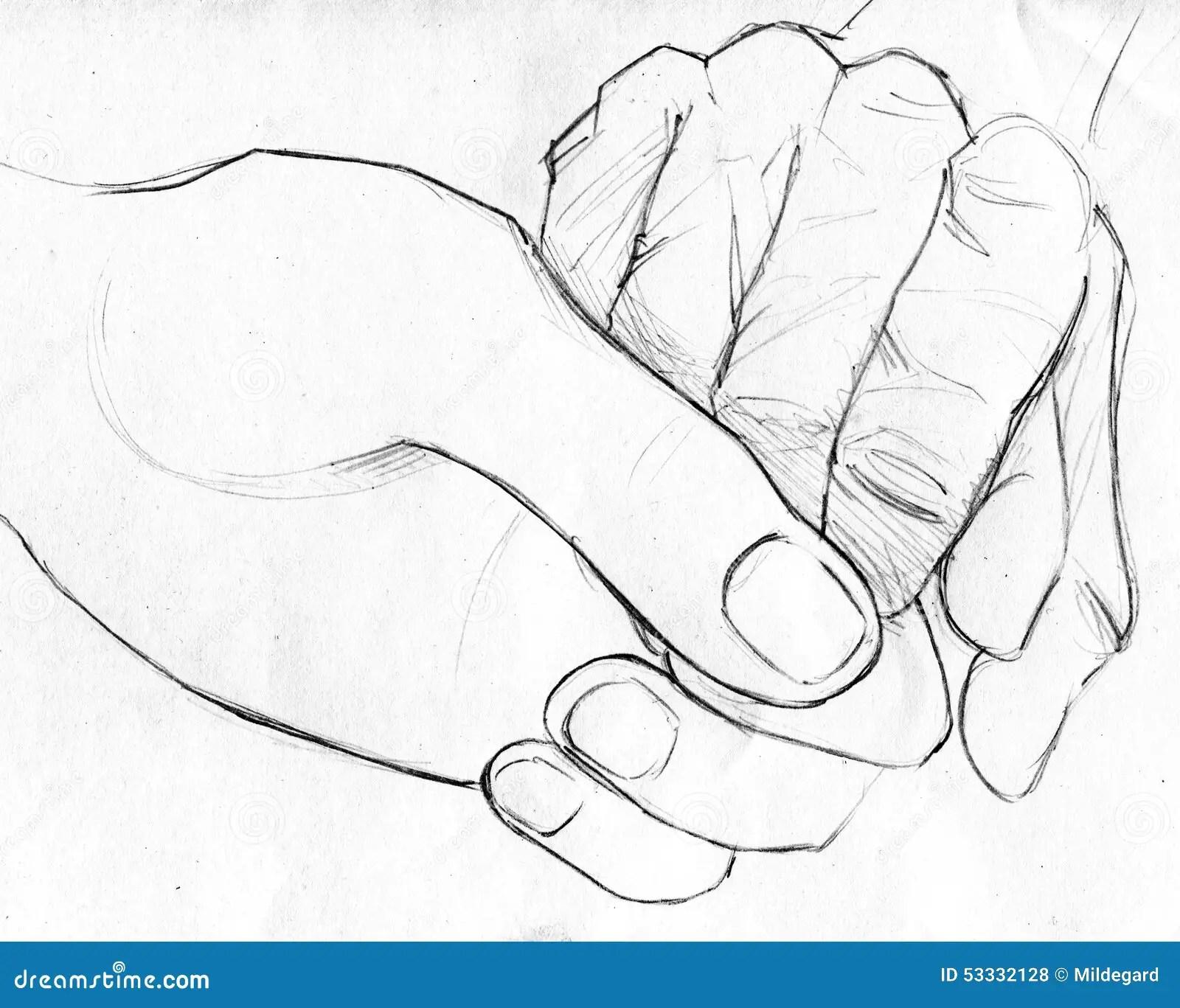 Halten Der Alteren Hand Bleistiftskizze Stock Abbildung