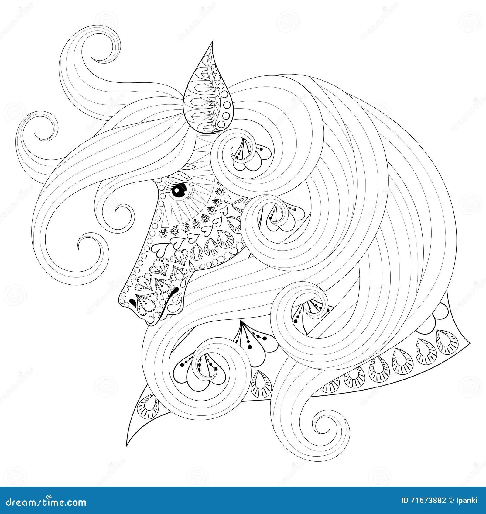 Hand Dragen Dekorativ Hast For Zentangle For Vuxna