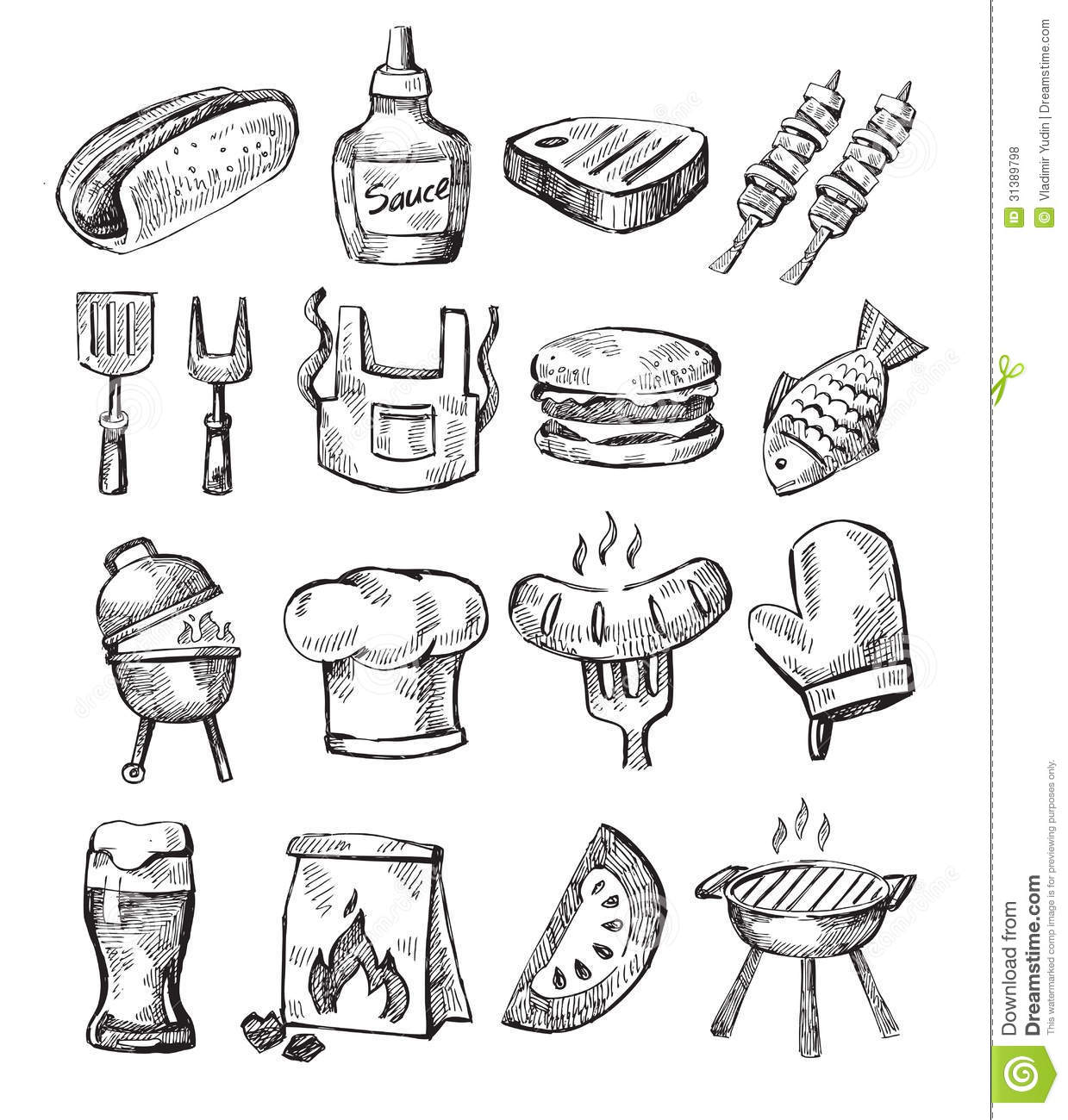 Hand Draw Barbecue Stock Vector Image Of Burger Black