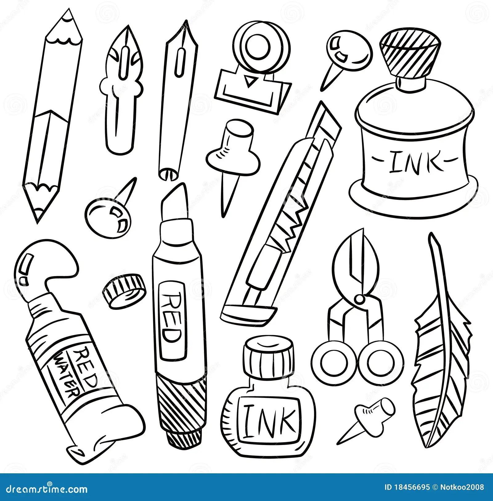 Hand Draw Cartoon Stationery Icon Stock Vector