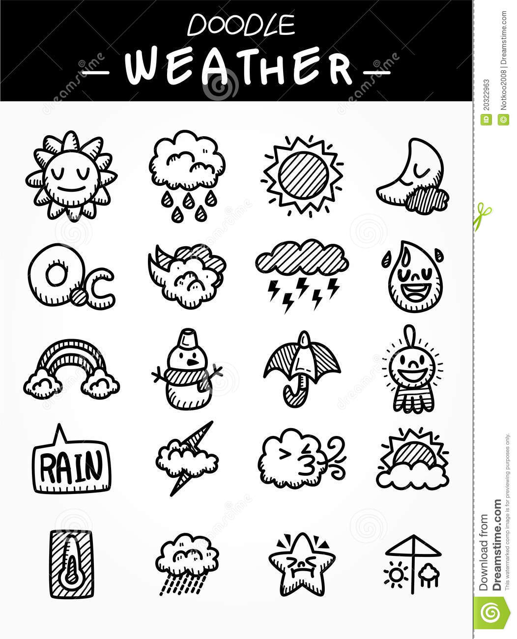Hand Draw Cartoon Weather Icons Set Stock Vector