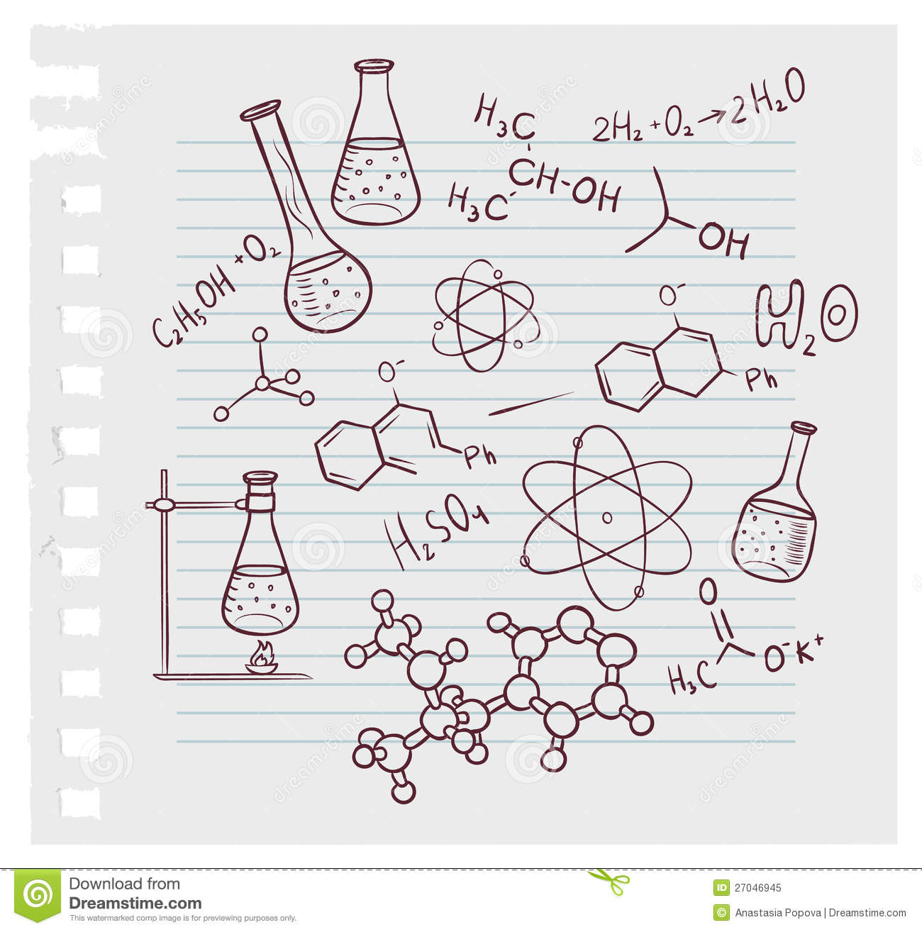 Hand Draw Chemistry On Background Stock Vector