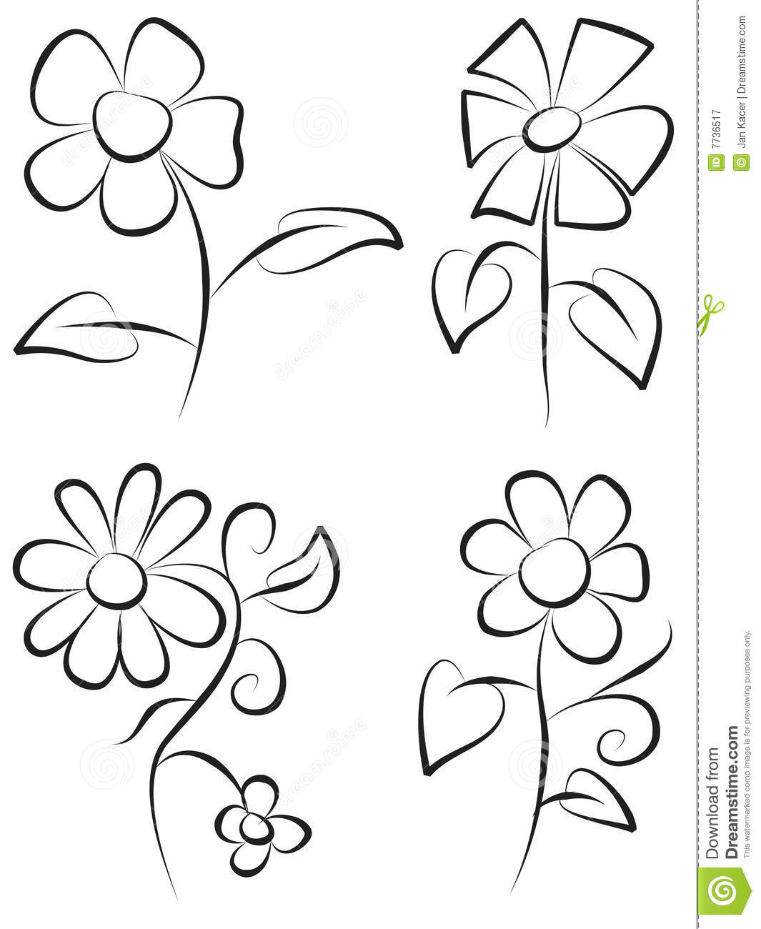 Hand Draw Flowers Royalty Free Stock Photography