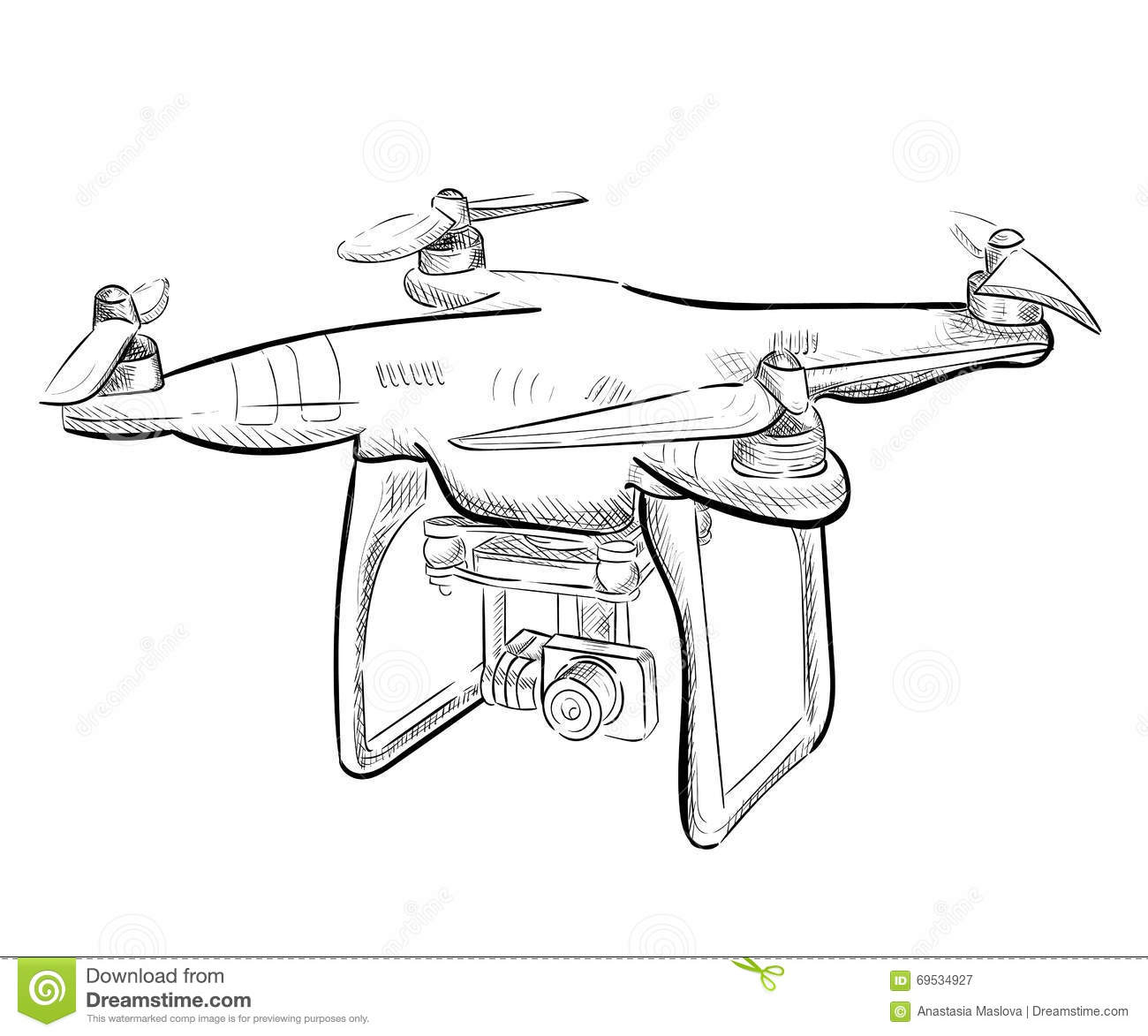 Hand Draw Illustration Aerial Vehicle Quadrocopter Air