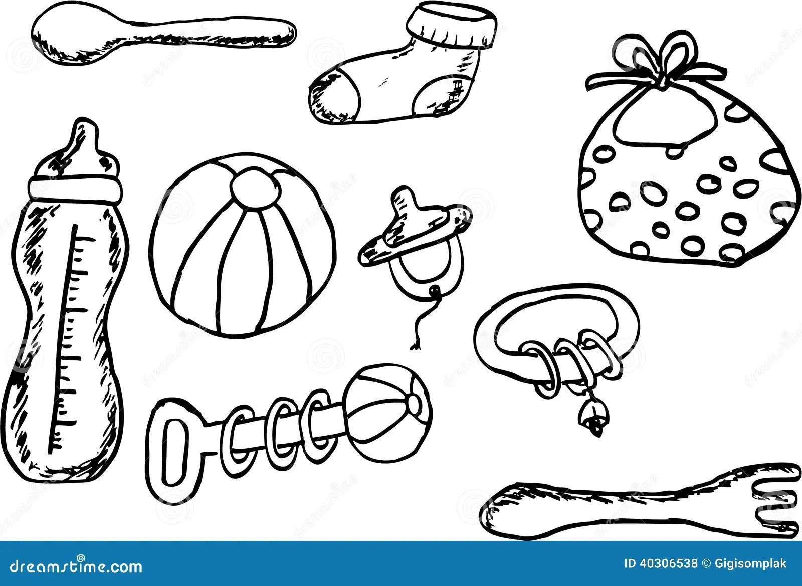 Hand Draw Sketch Baby Stuff Stock Illustration