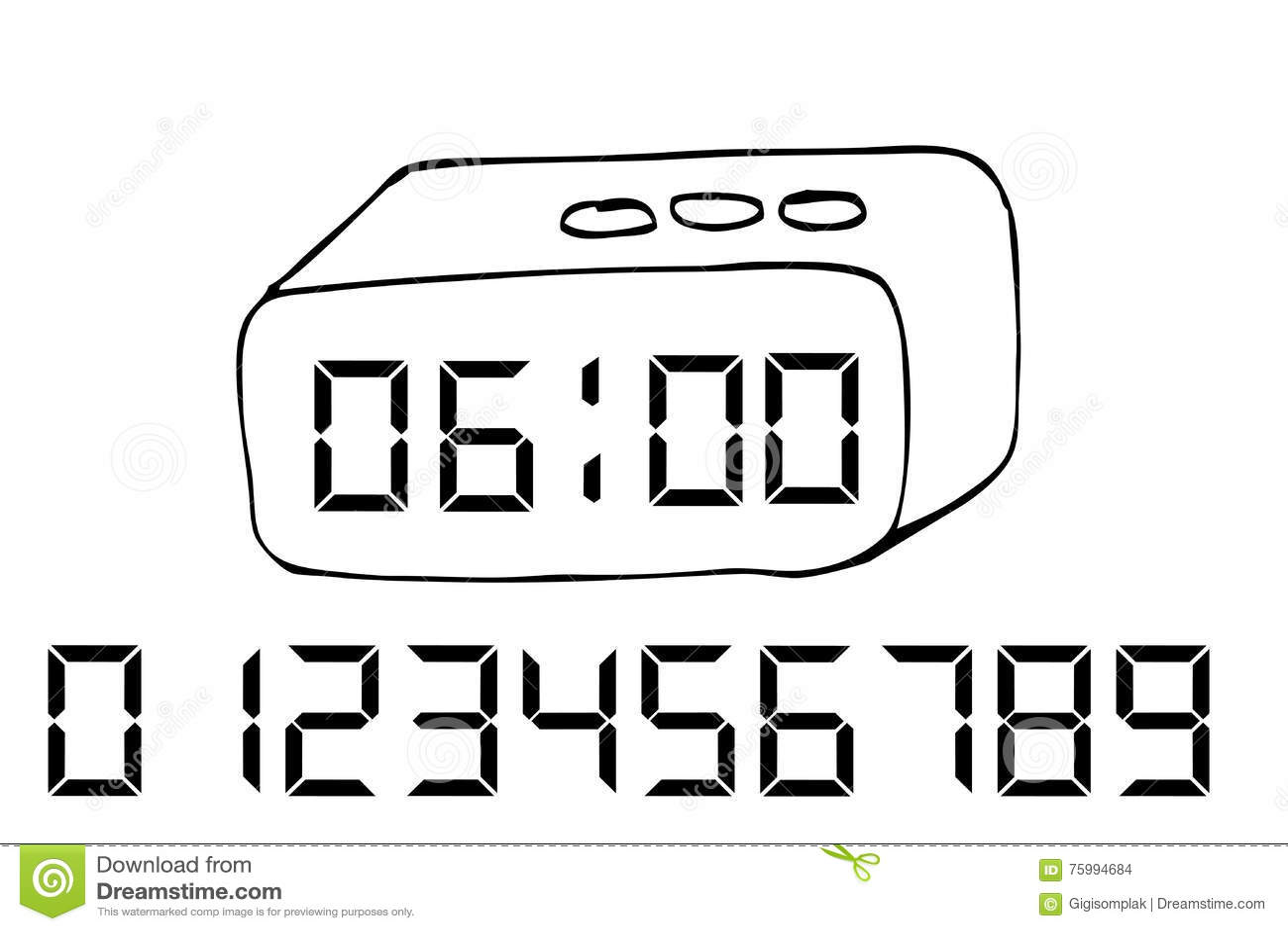 Hand Draw Sketch Of Digital Alarm Clock Stock Vector