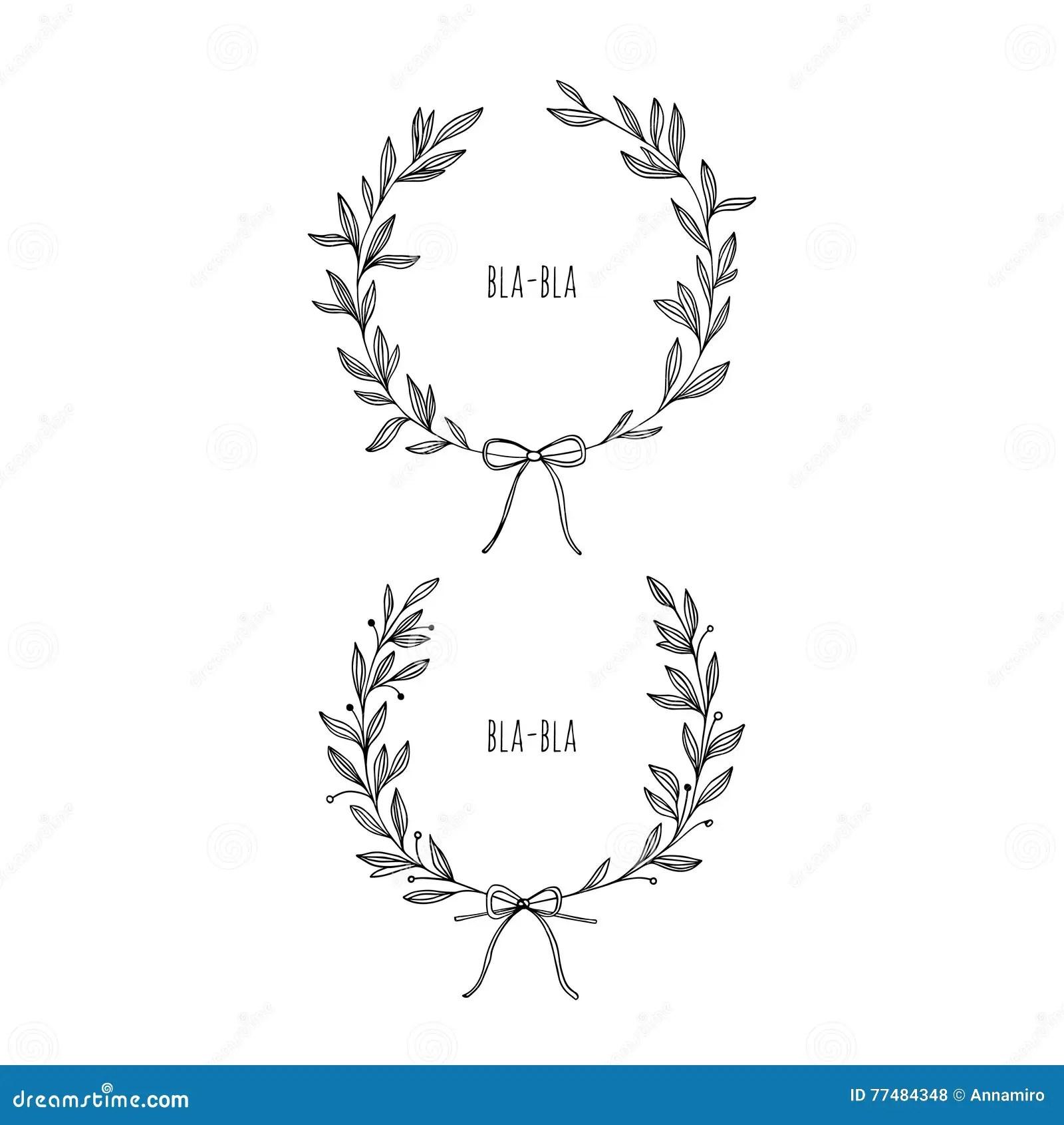 Hand Draw Vector Laurel Wreaths Stock Vector
