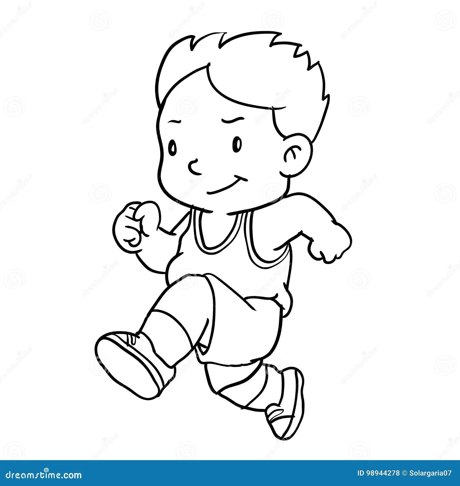 Hand Drawing Of Boy Running Vector Illustration Stock