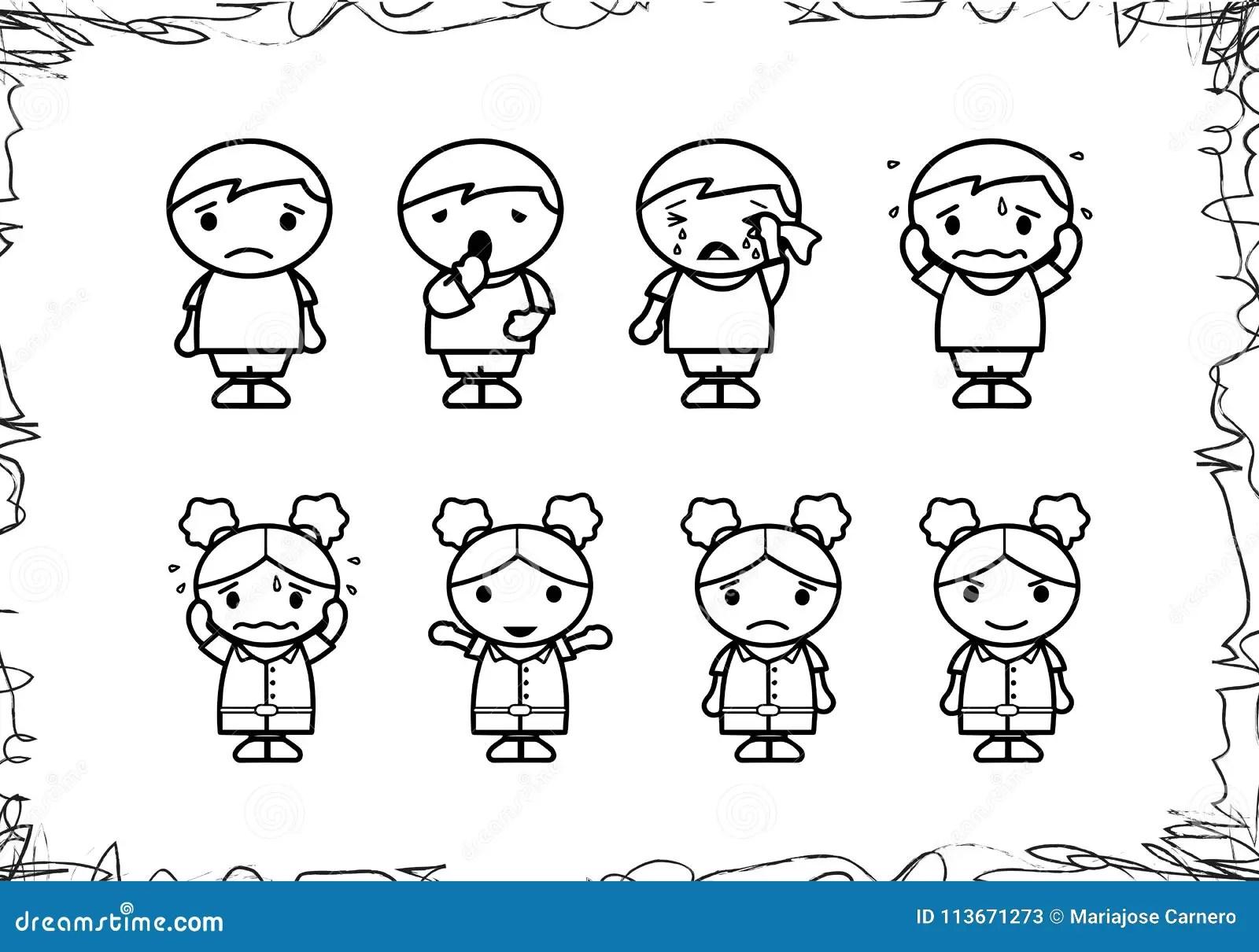 Hand Drawing Cartoon Of Children Stock Vector