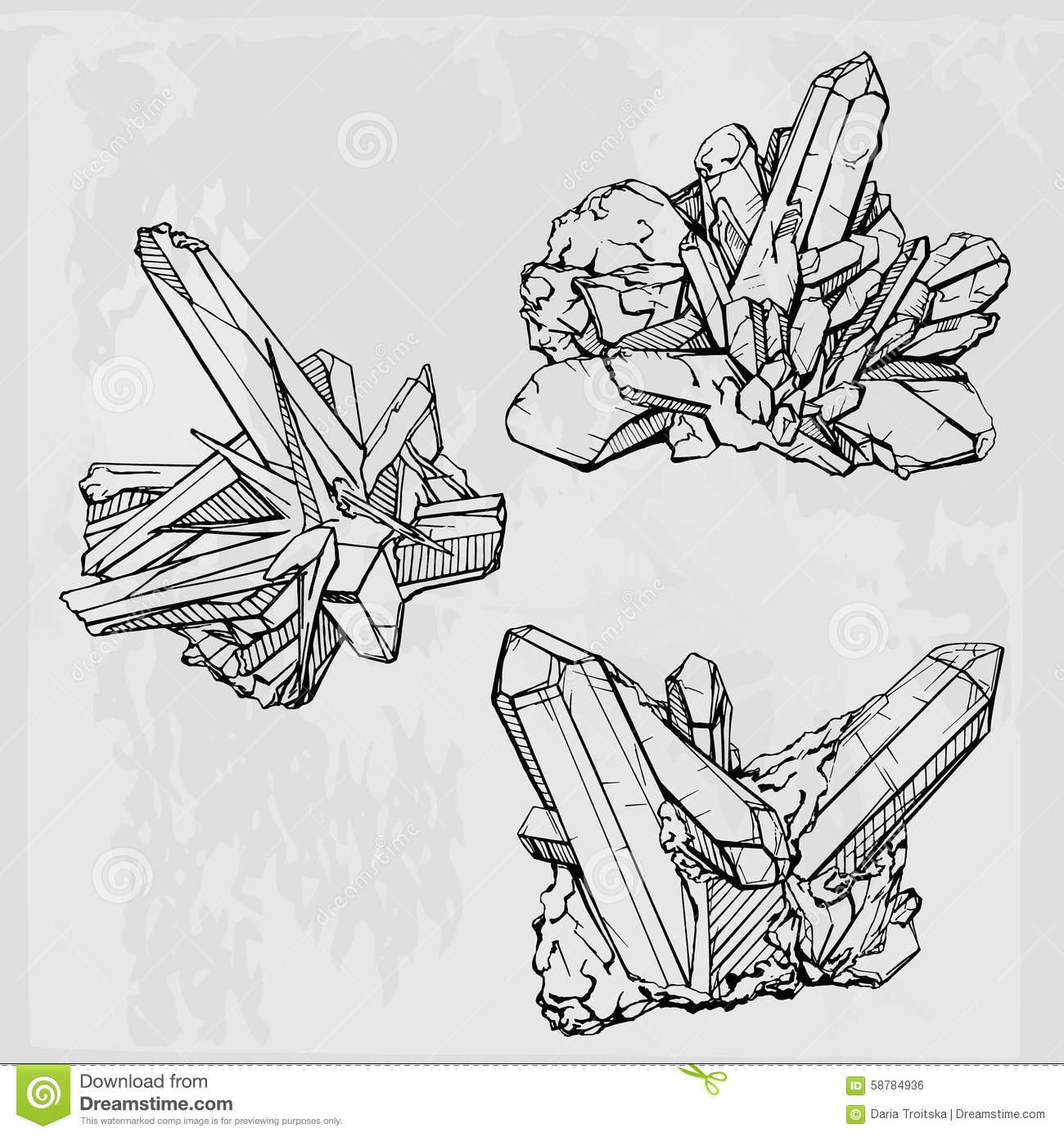 Hand Drawing Crystal Gems Geometric Gemstone Stock Vector