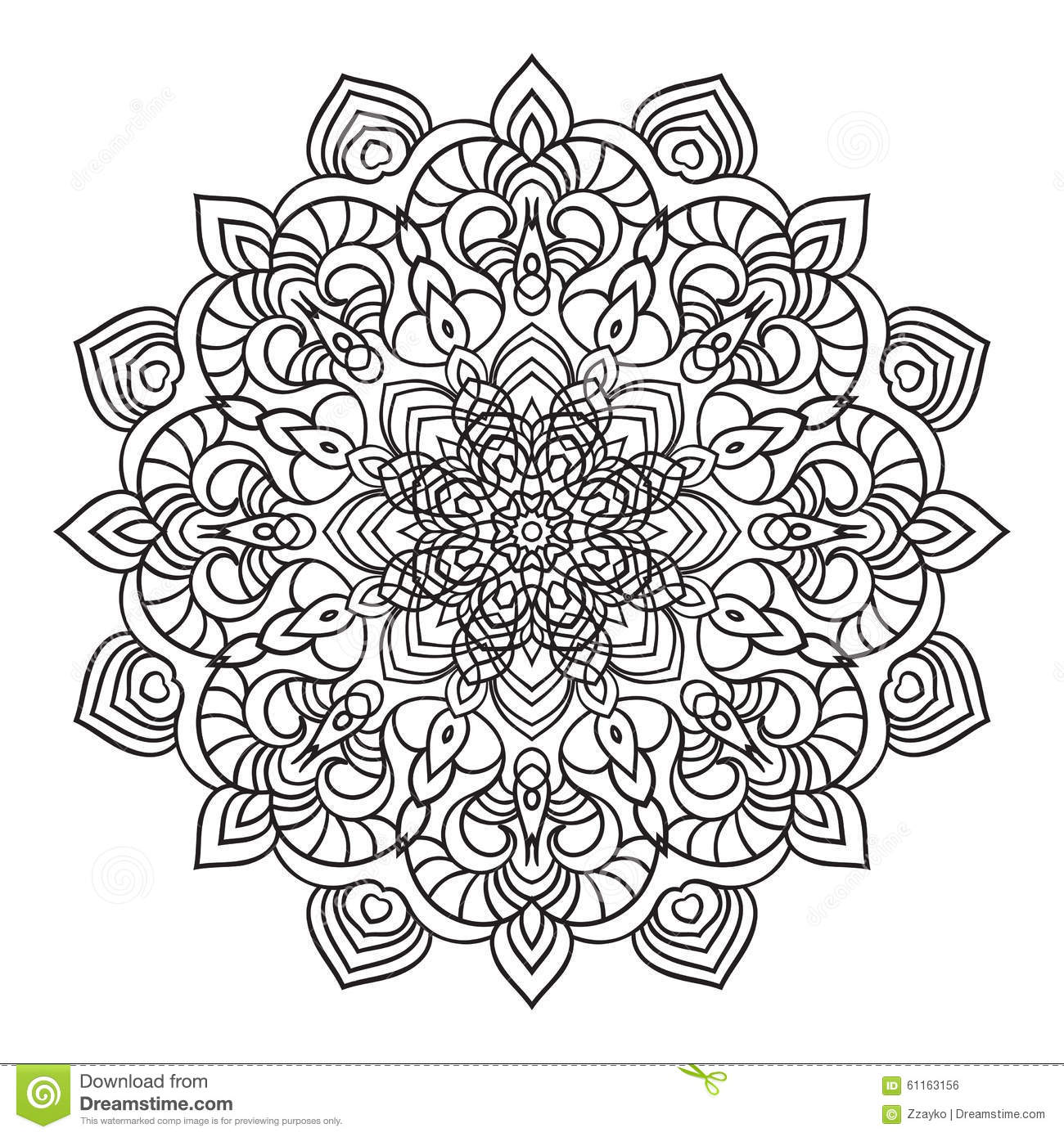 Hand Drawing Ornate Mandala Element In Eastern Style Stock