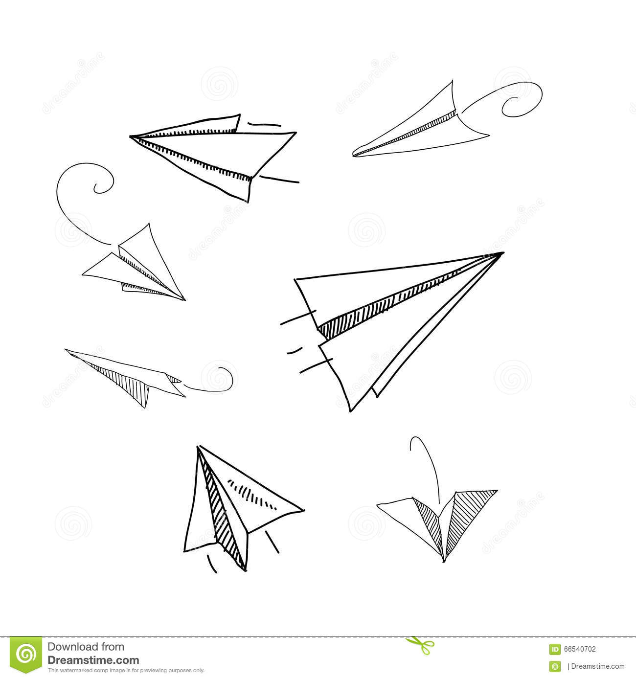 Hand Drawing Paper Plane Vector Illustrations Stock Vector