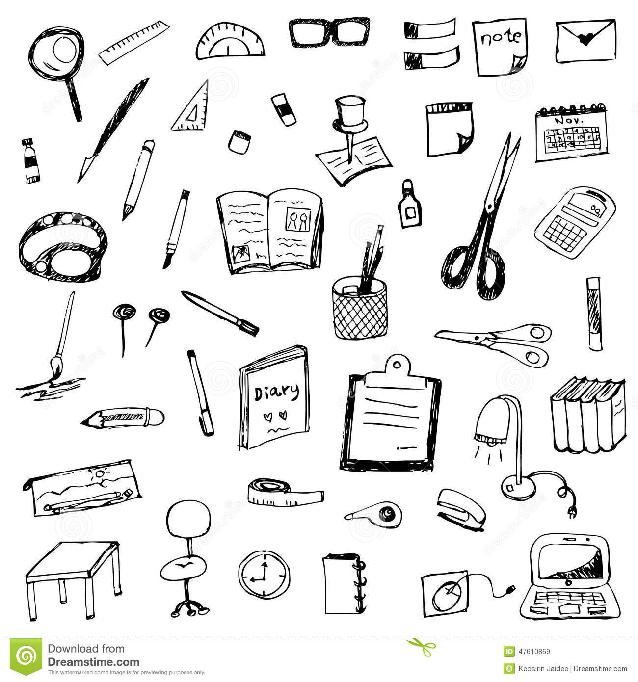 Hand Drawing Of Stationery Vector Set Stock Vector