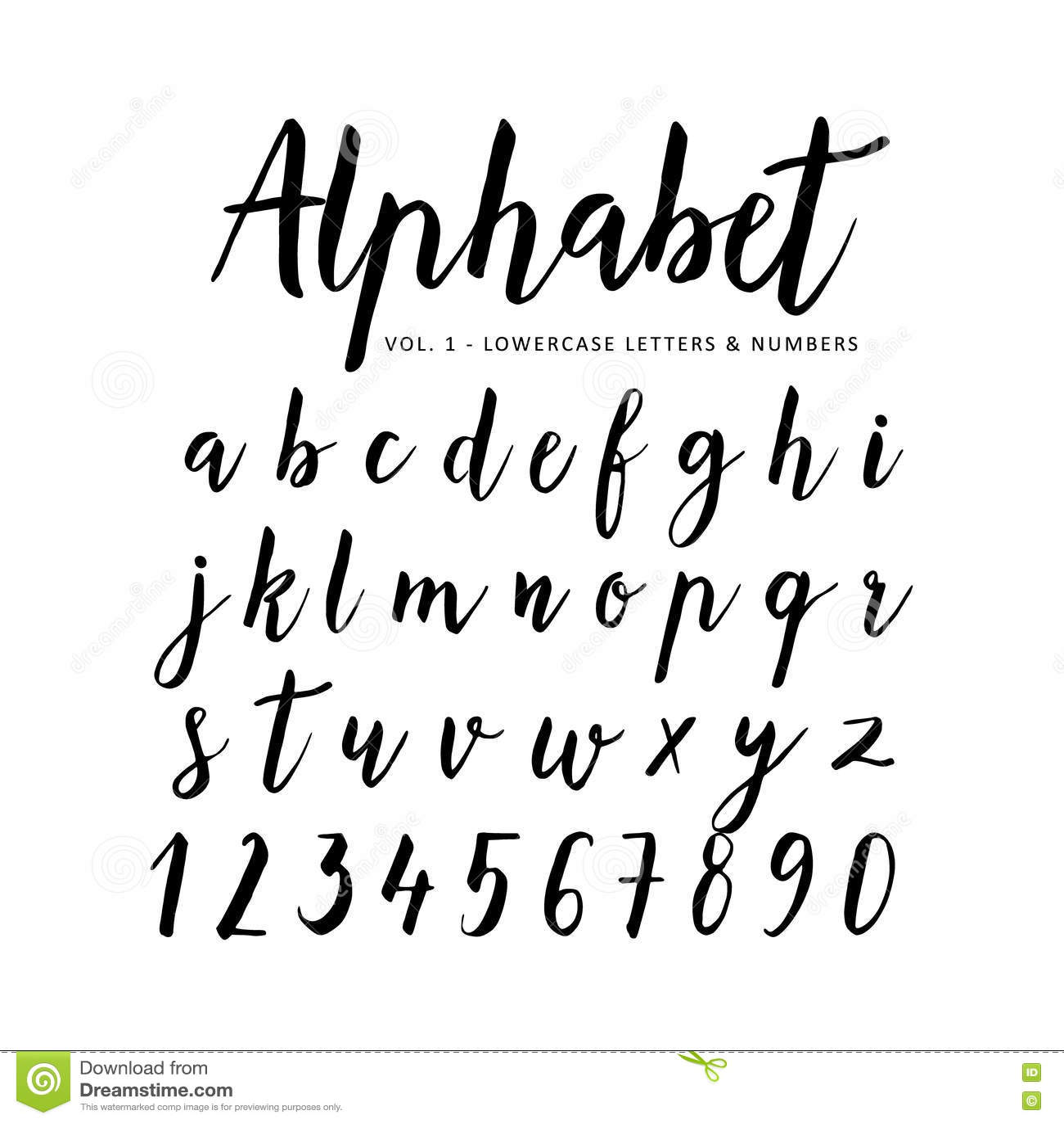 Hand Drawn Alphabet Script Font Brush Font Stock Vector