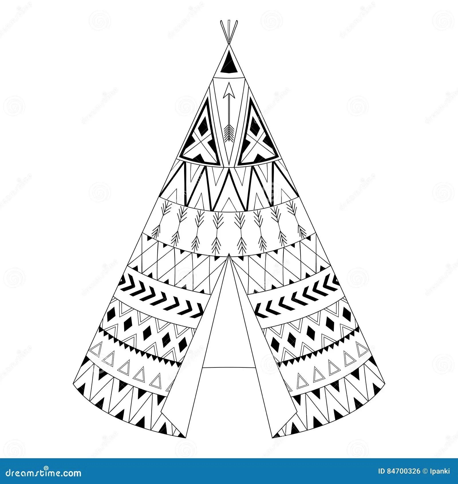 Hand Drawn American Native Wigwam With Ethnic Ornamental