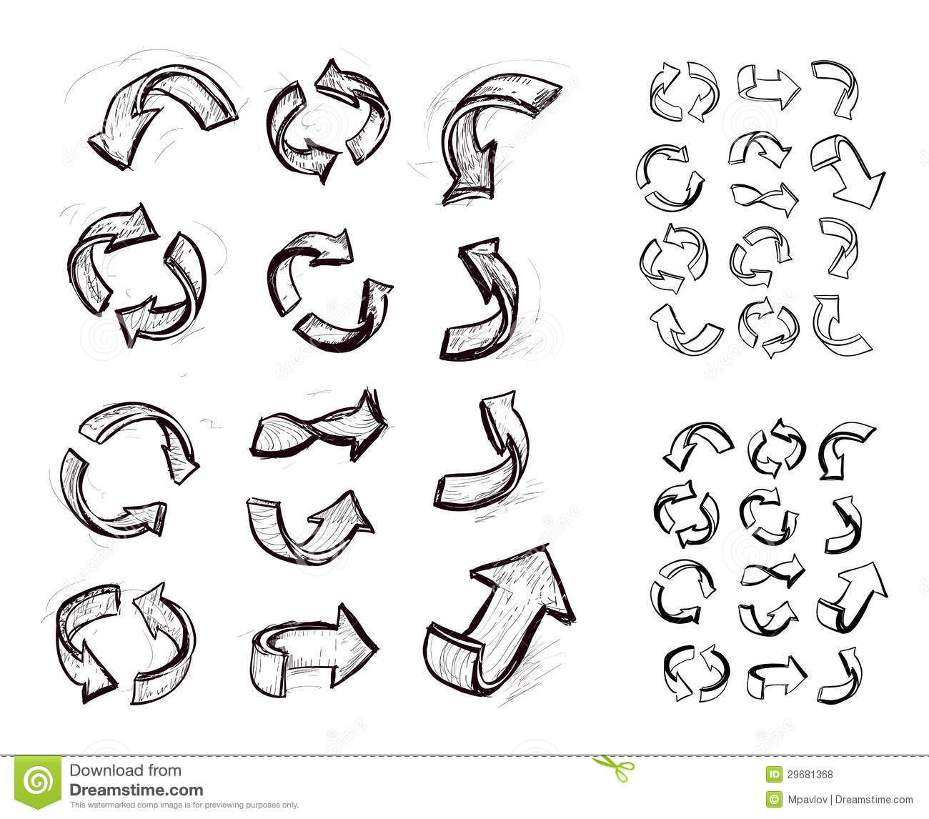 Hand Drawn Arrows Set Stock Vector Illustration Of Lines