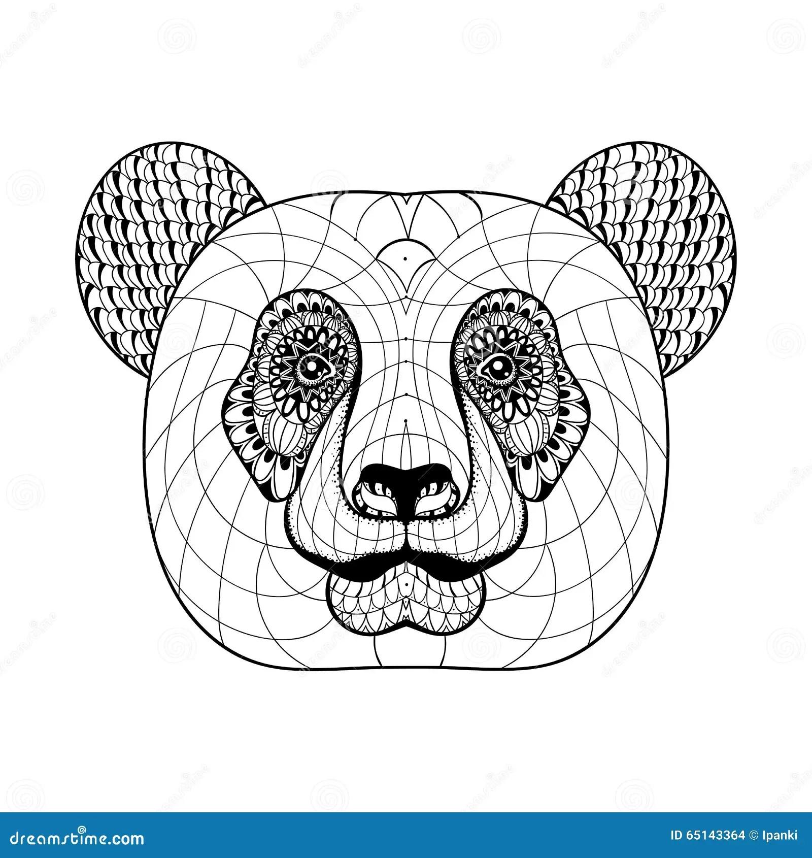Hand Drawn Artistically Ethnic Ornamental Patterned Panda