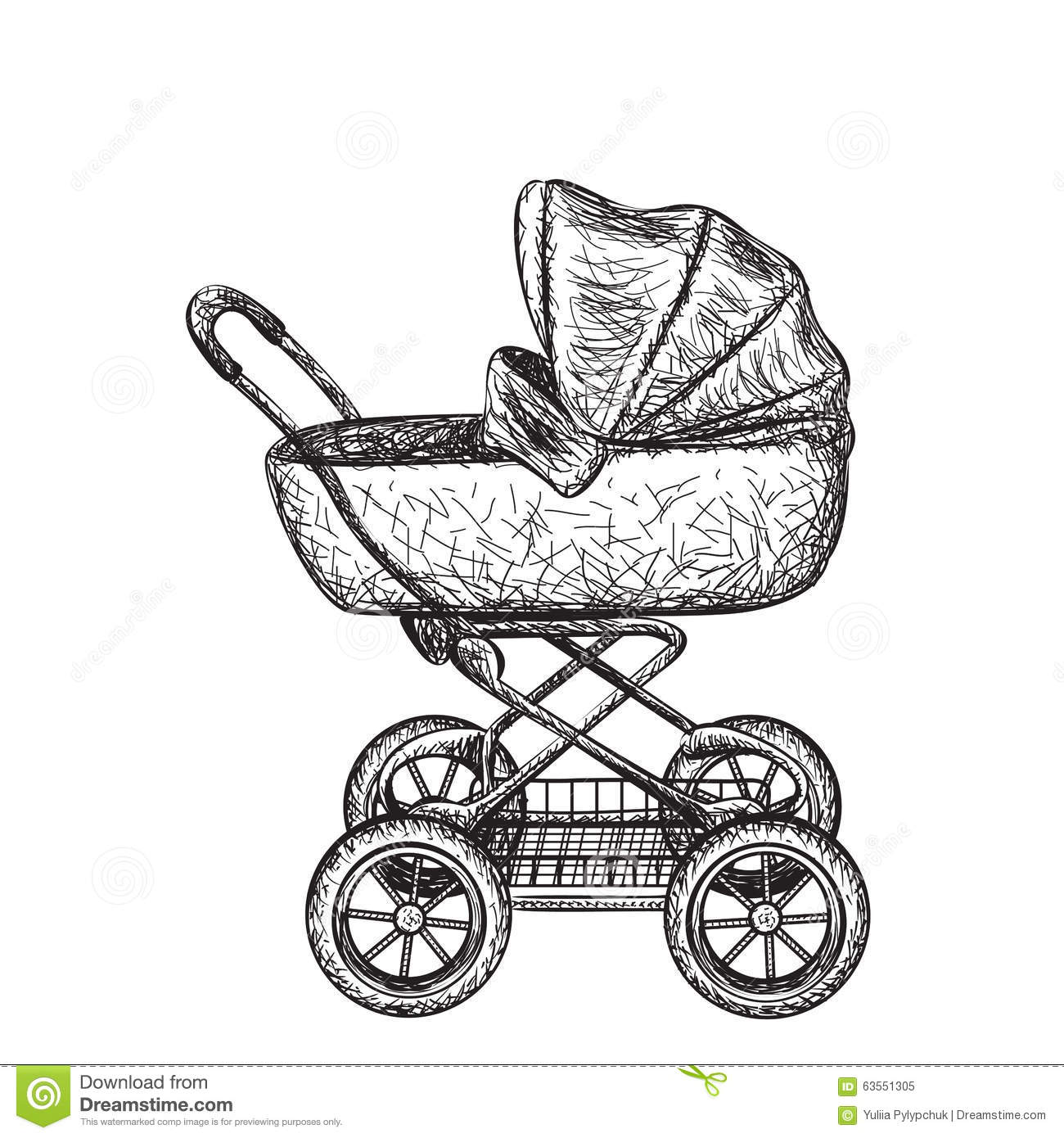 Hand Drawn Baby Carriage Cartoon Vector
