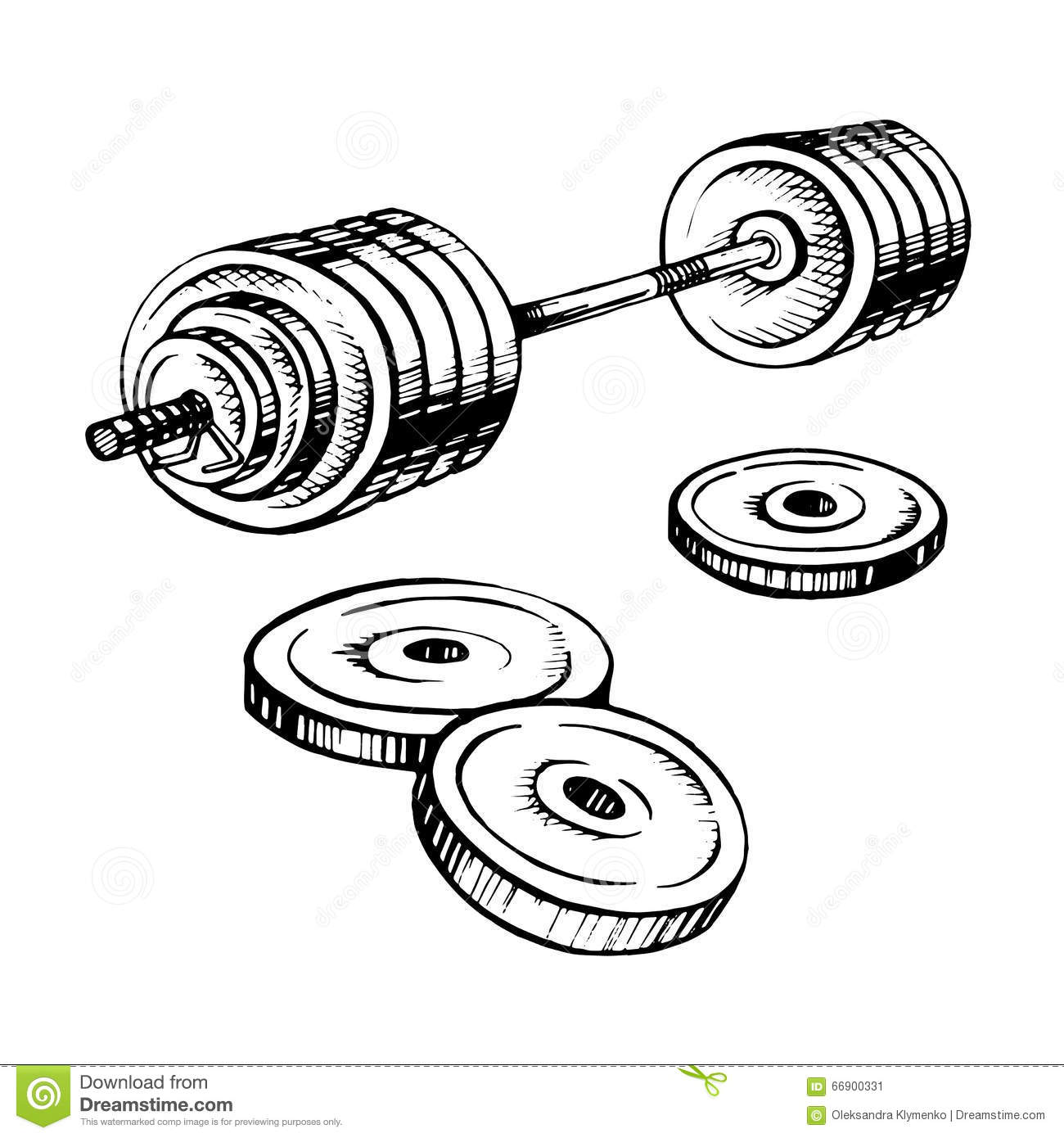 Hand Drawn Barbell Vector On White Background Stock