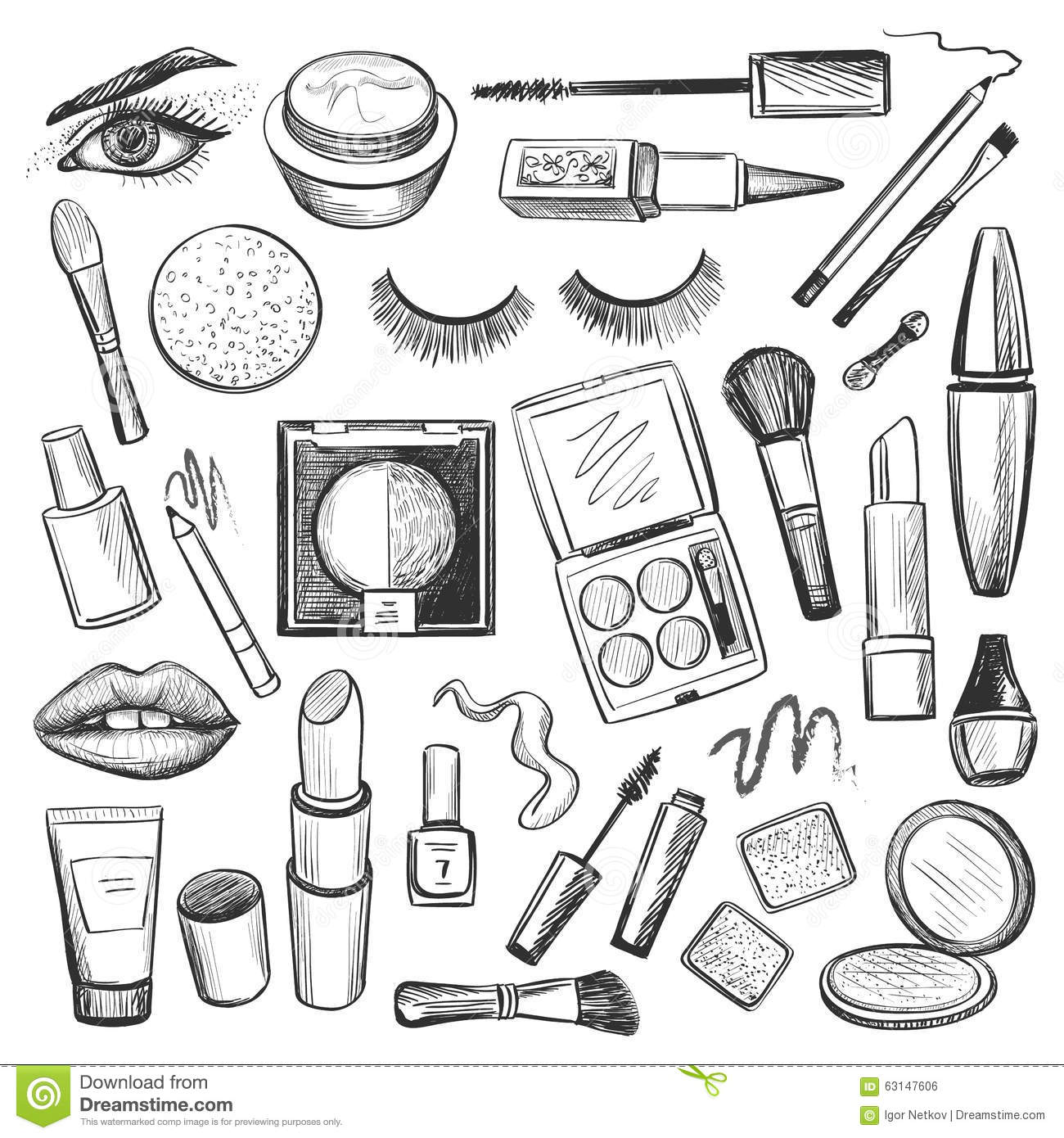 Hand Drawn Beauty And Makeup Icons Set Stock Vector
