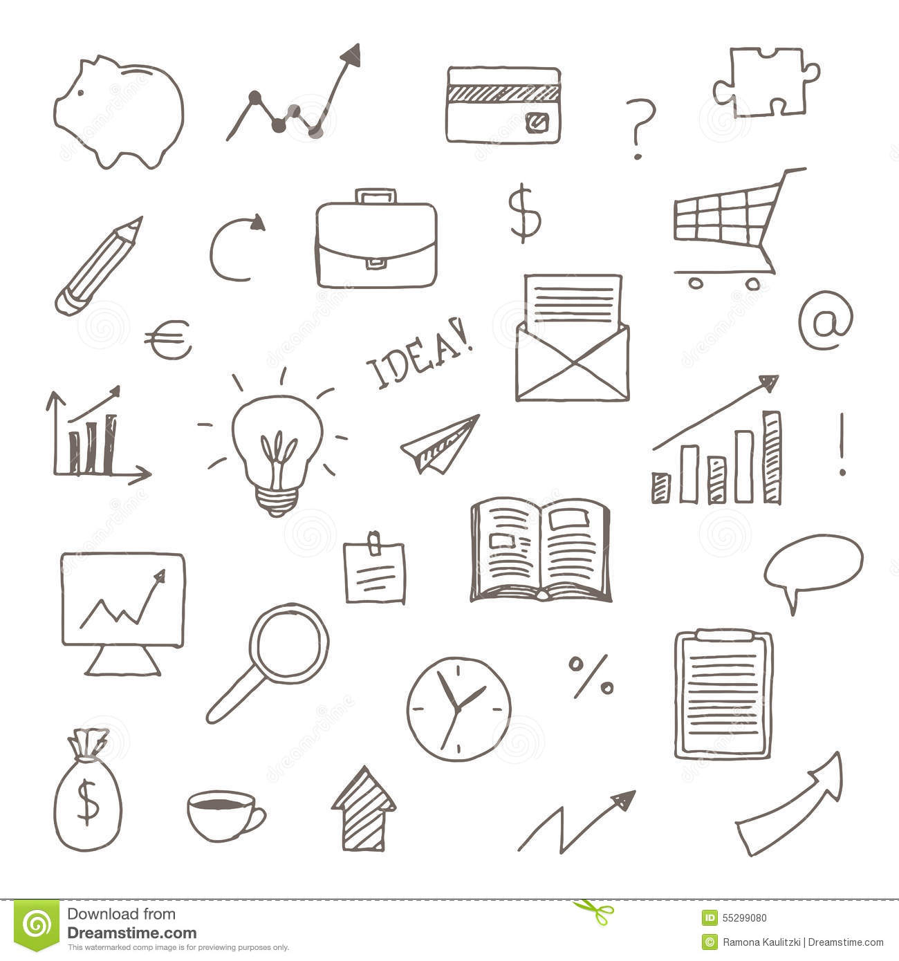 Hand Drawn Business Icons Stock Illustration