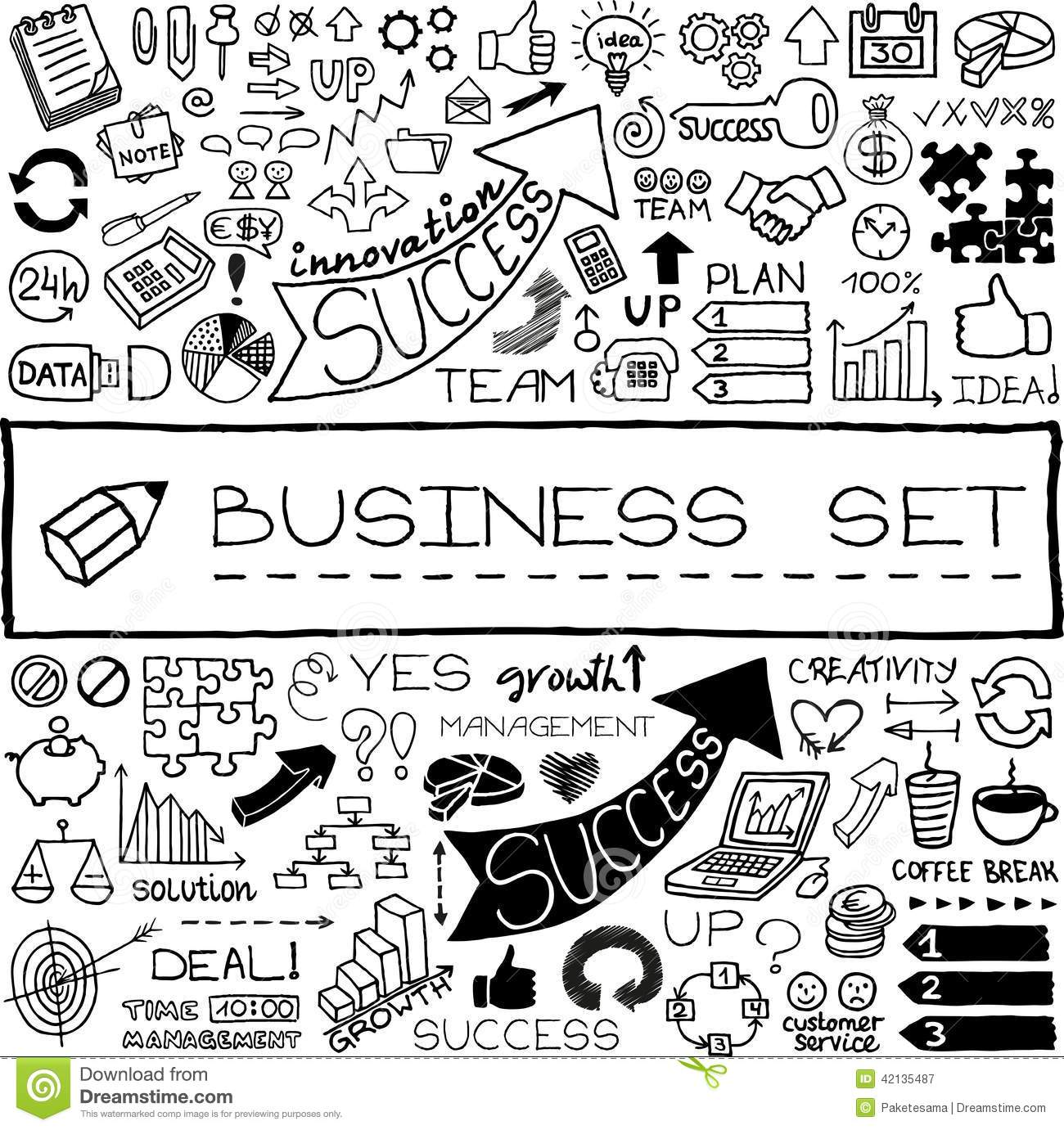Hand Drawn Business Set Of Icons Stock Vector