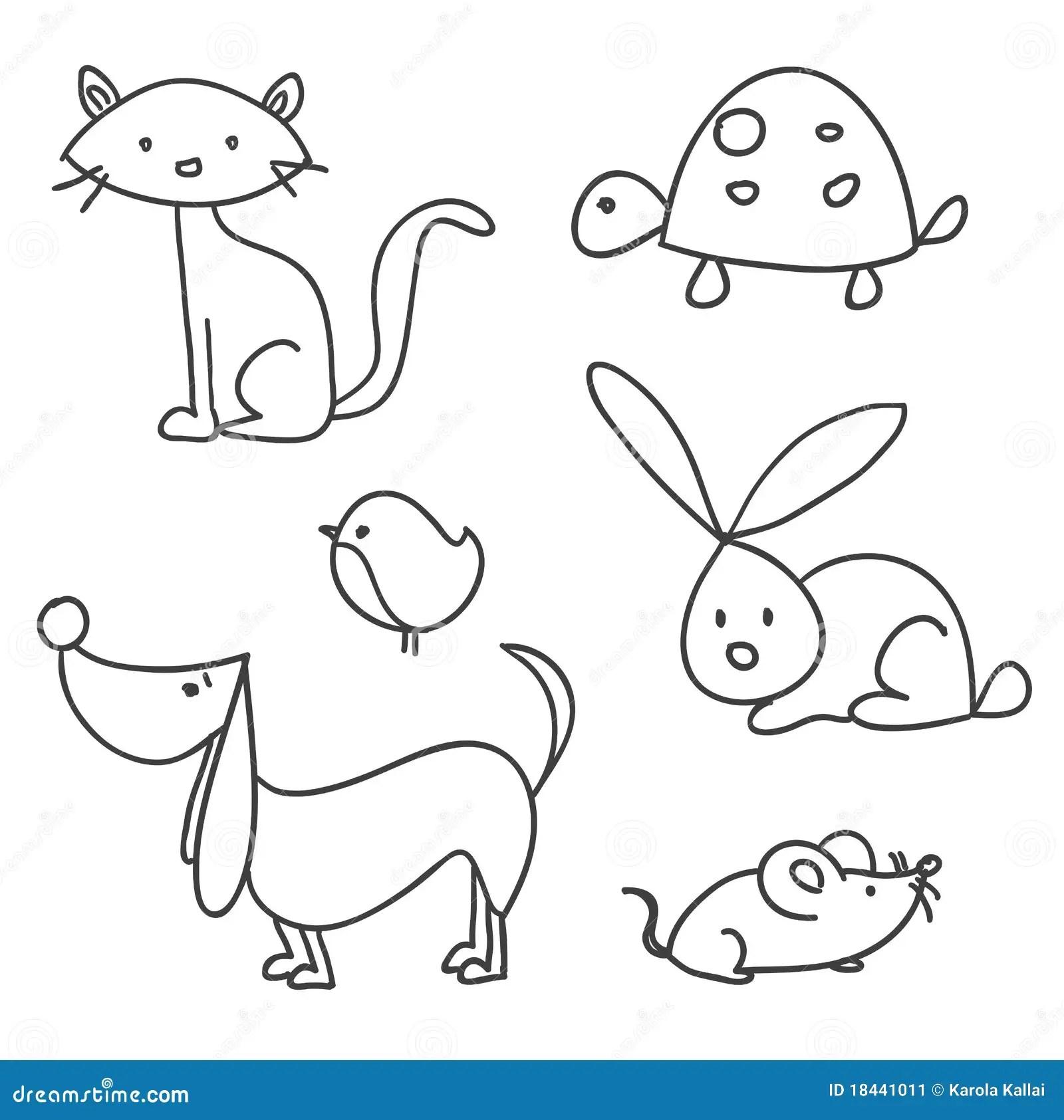 Hand Drawn Cartoon Pets Stock Vector Image Of Scrapbook