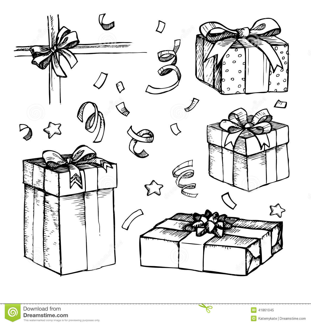 Hand Drawn Christmas Card With T Boxes Line Art Stock