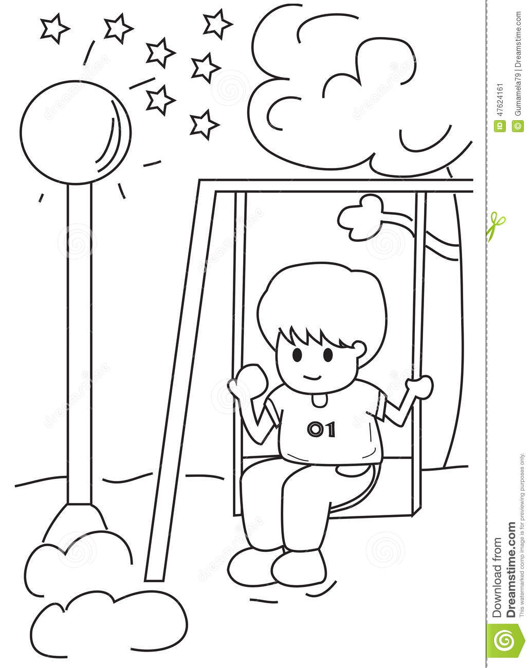 Hand Drawn Coloring Page Of A Boy On A Swing Stock