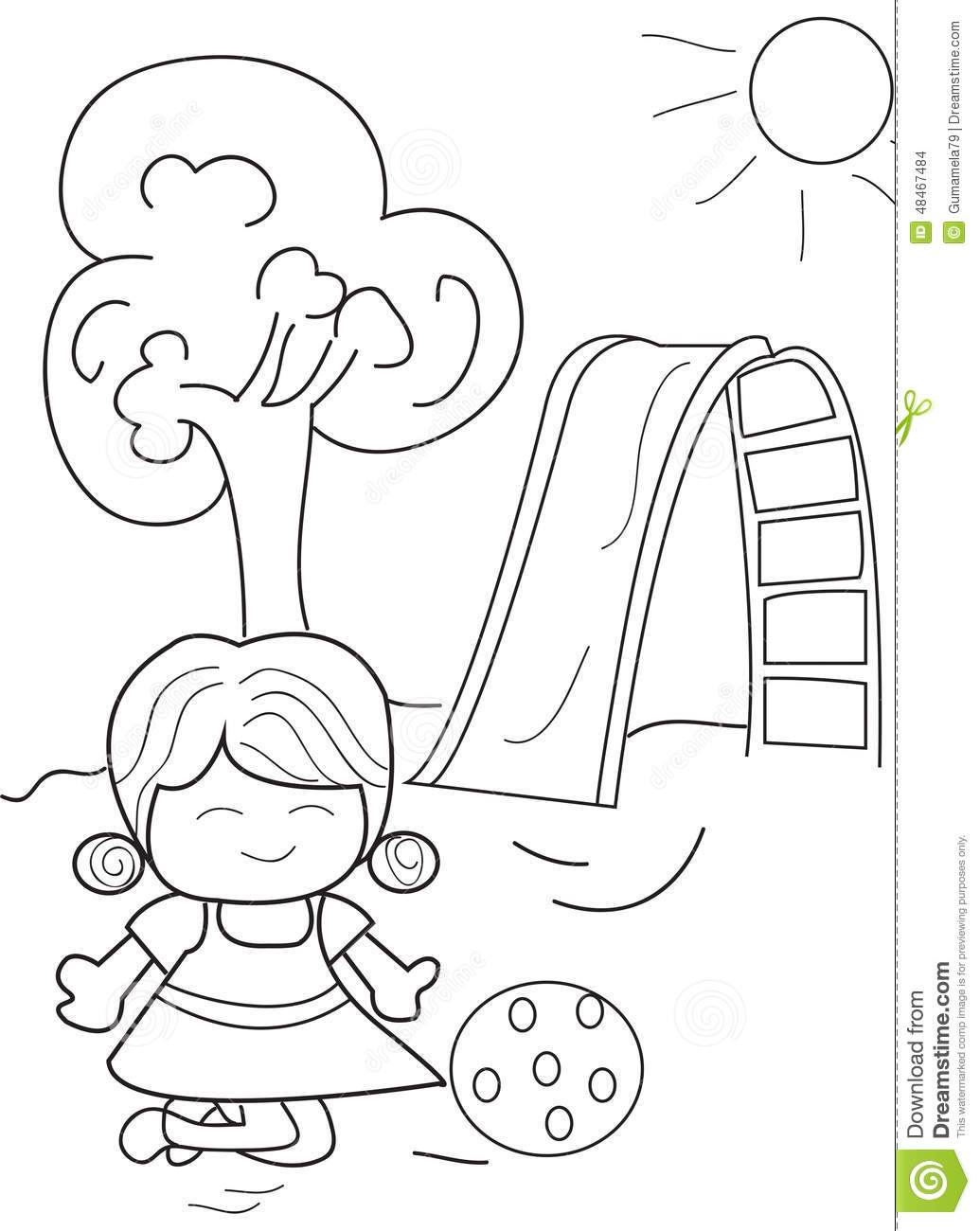 cartoon coloring page of a girl having fun playing ball at the park on