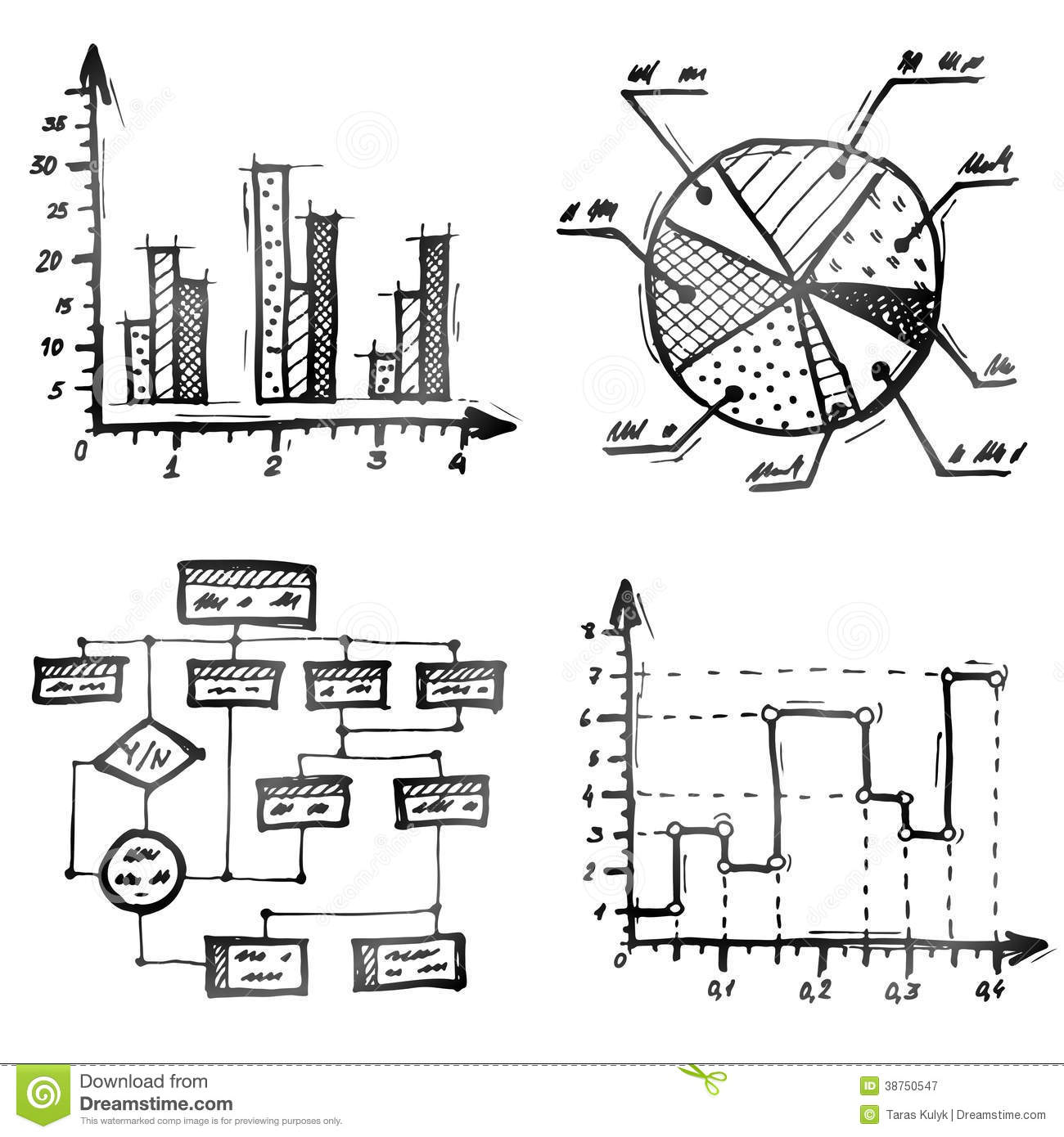 Hand Drawn Different Types Of Infographics Royalty Free Stock Photography