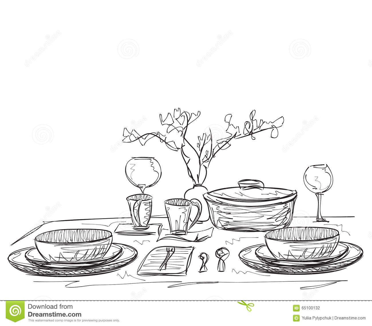 Hand Drawn Dinner Wares Stock Vector Image Of Wine White