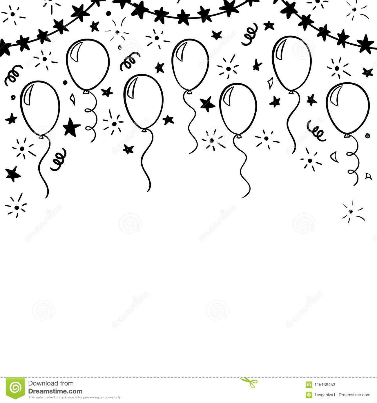 Hand Drawn Doodle Black And White Balloon Design Holiday Greeting Card And Invitation Of
