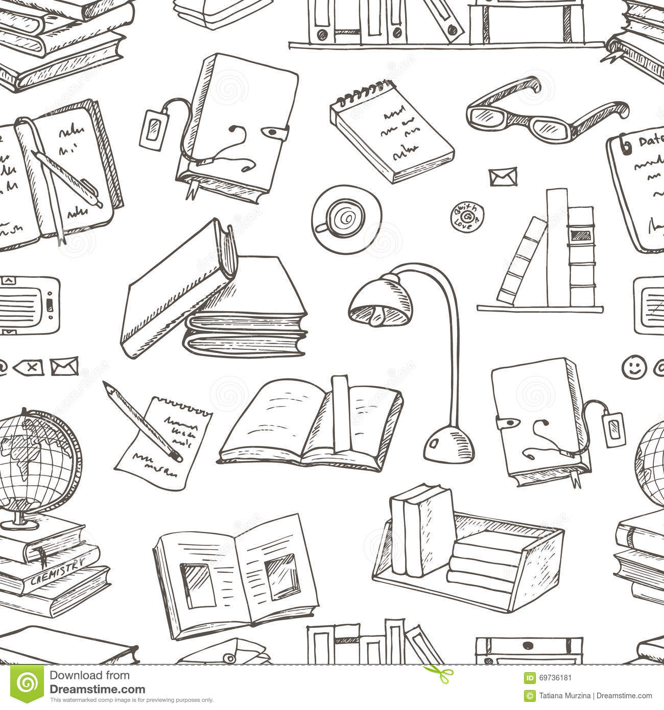 Hand Drawn Doodle Books Reading Seamless Pattern Stock