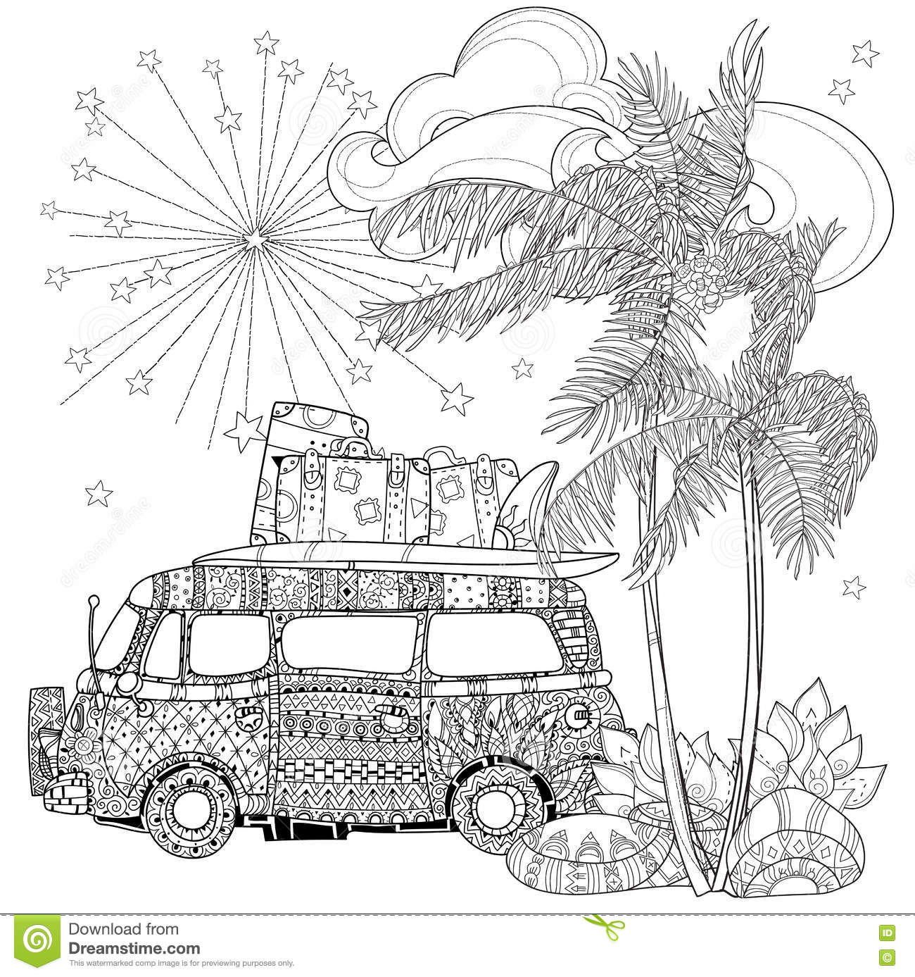 Hand Drawn Doodle Outline Palm Tree Stock Vector