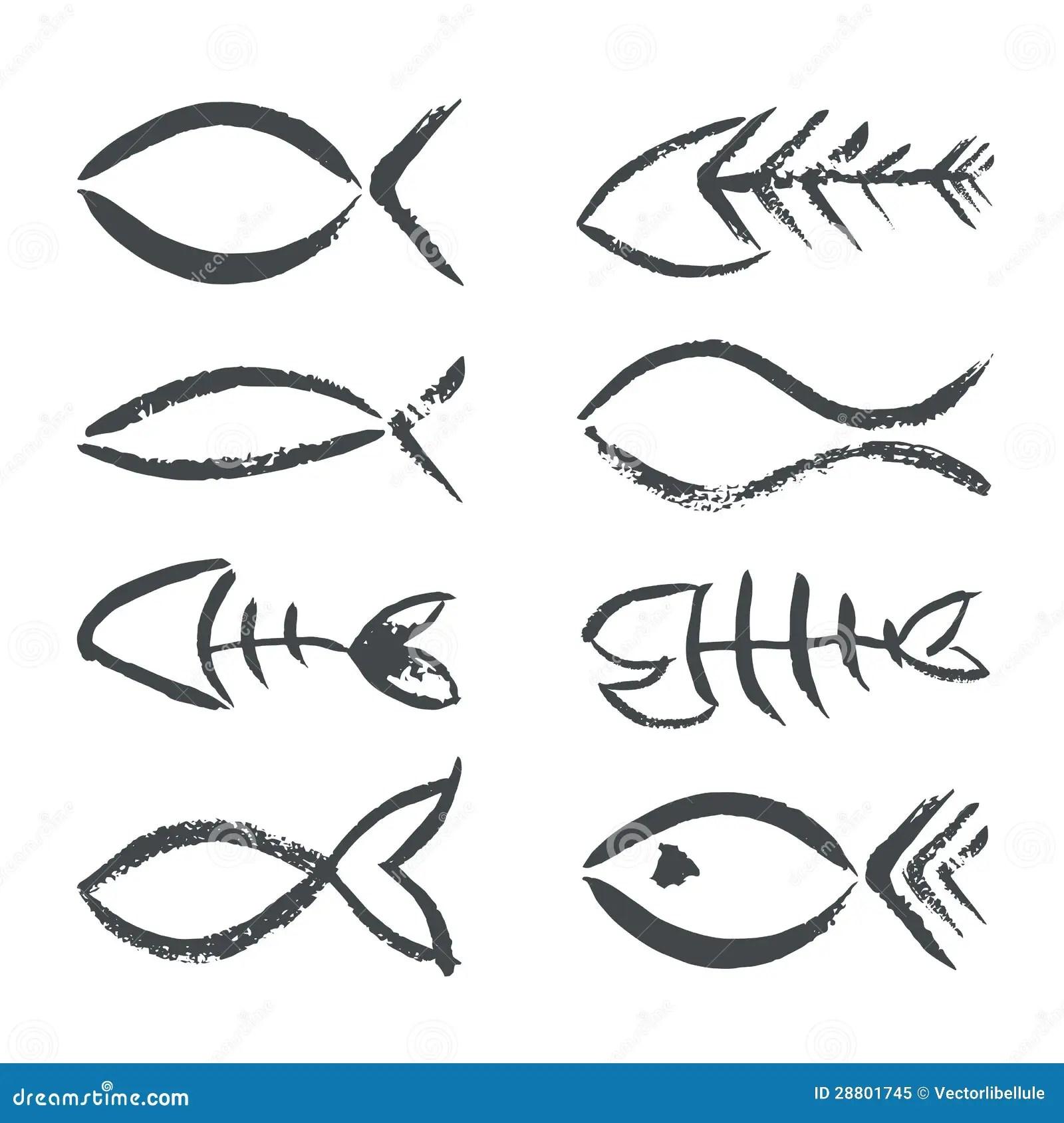 Hand Drawn Fish Symbols Stock Vector Illustration Of