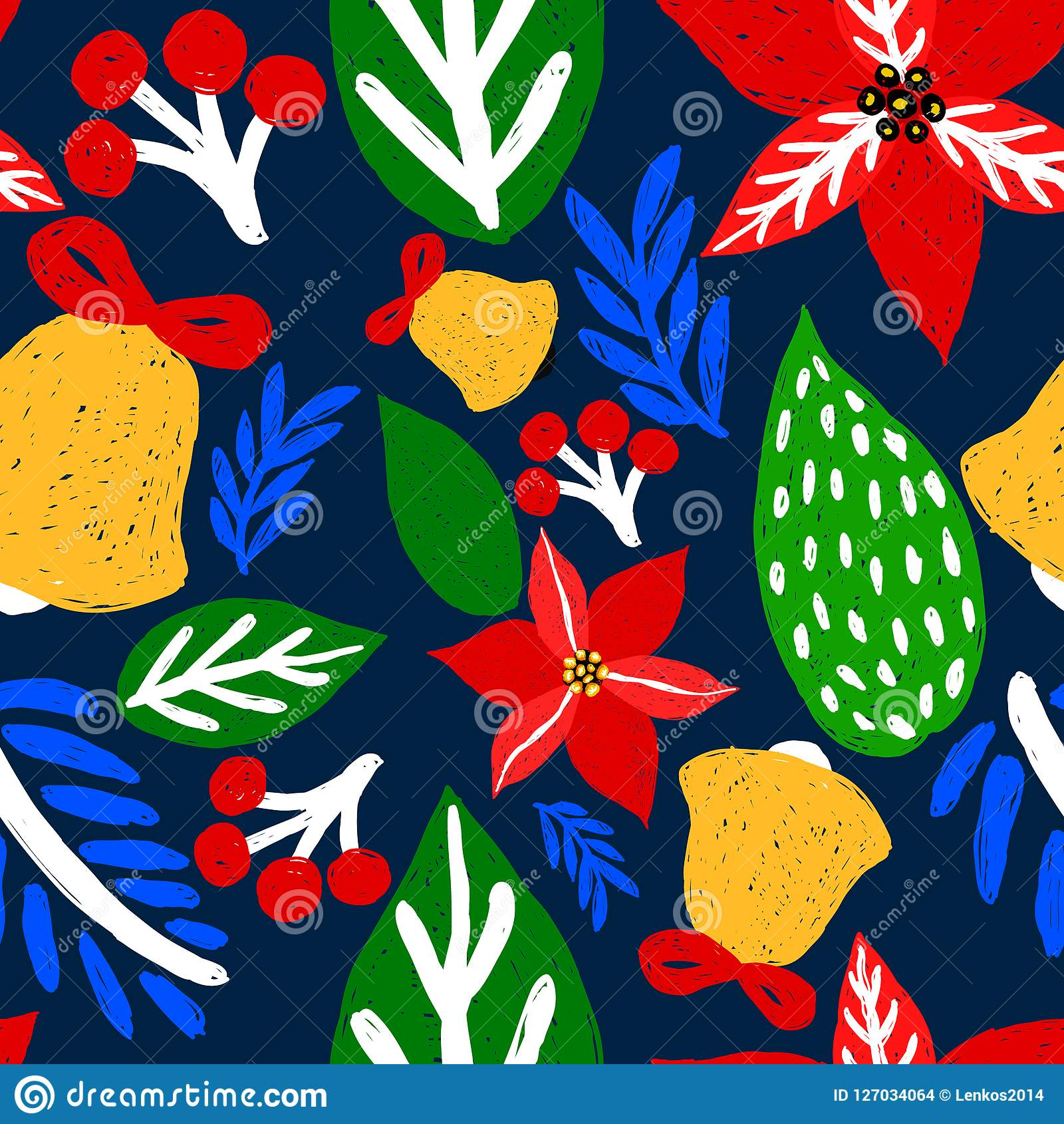 Hand Drawn Floral Seamless Vector Pattern Winter And Fall
