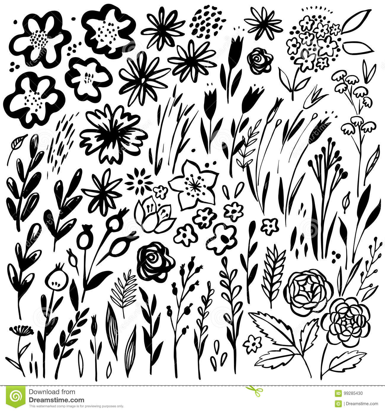 Vector Silhouettes Of Flowers And Grass Cartoon Vector