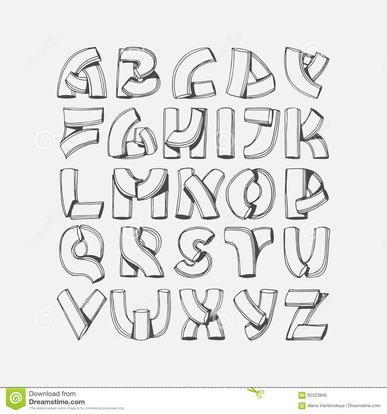 Hand Drawn Font Imitation Of 3d Letters Abc Sequence