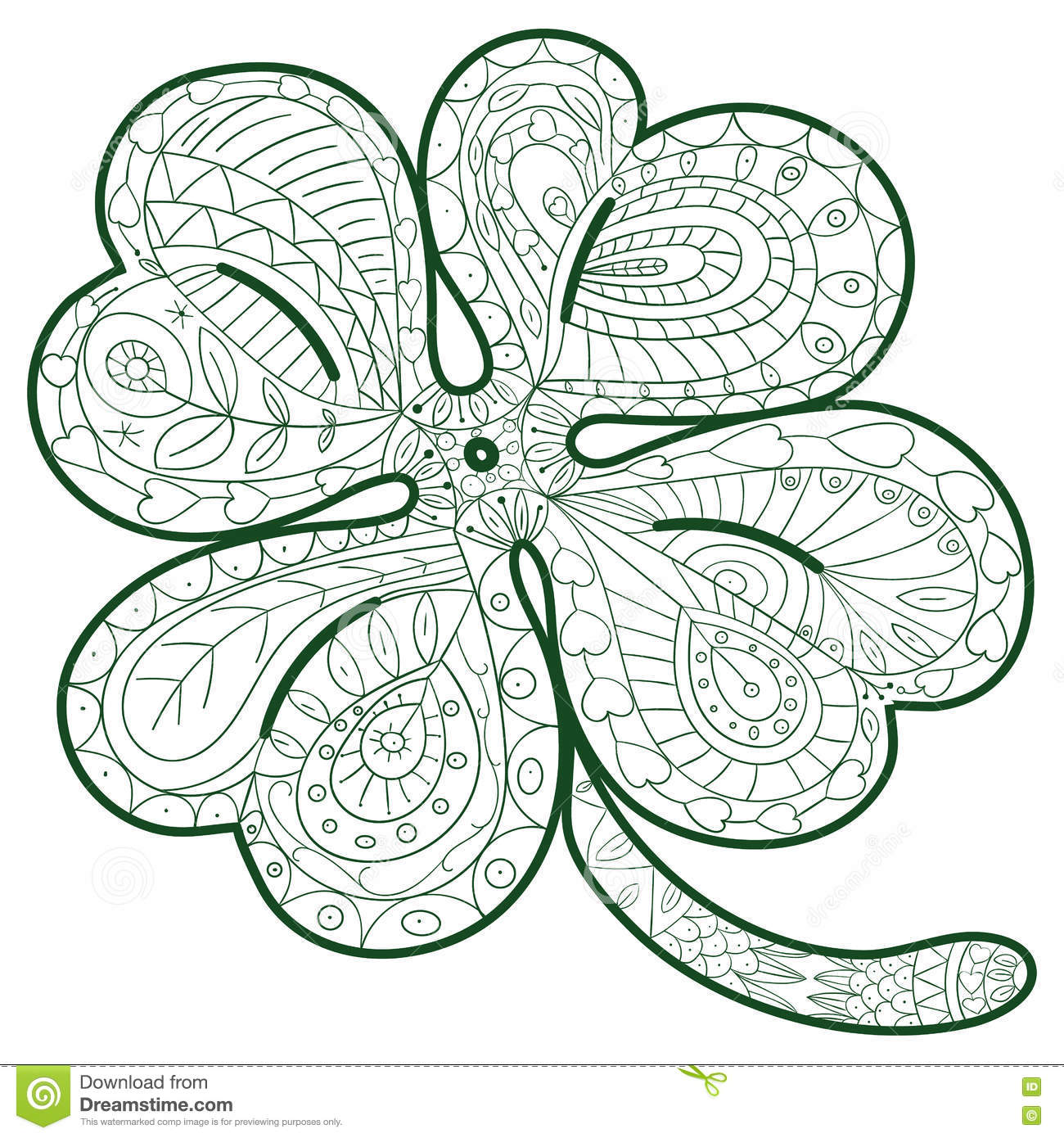 Hand Drawn Four Leaf Clover For Adult Coloring Pages In