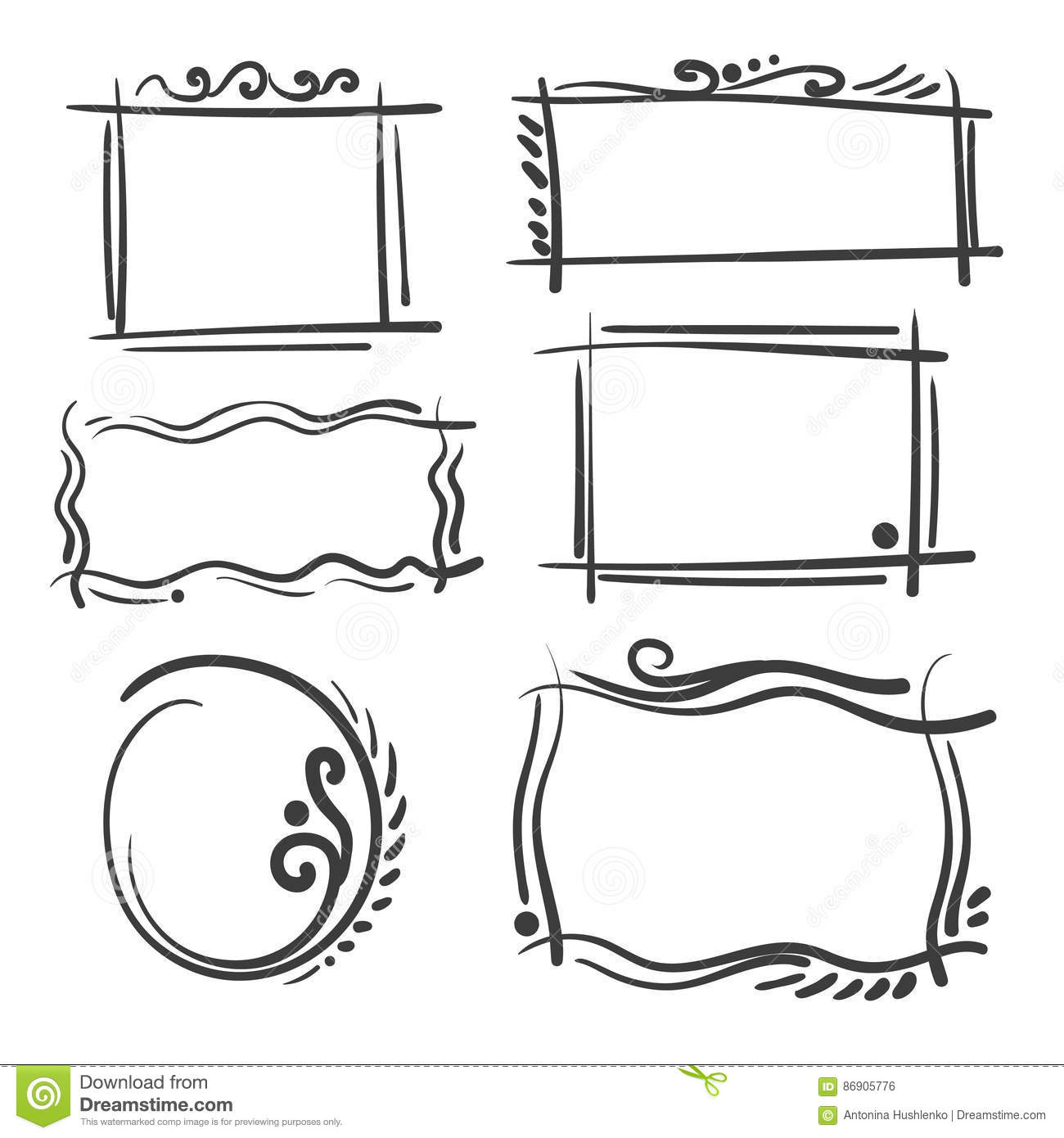 Hand Drawn Frames Set Cartoon Vector Square And Round